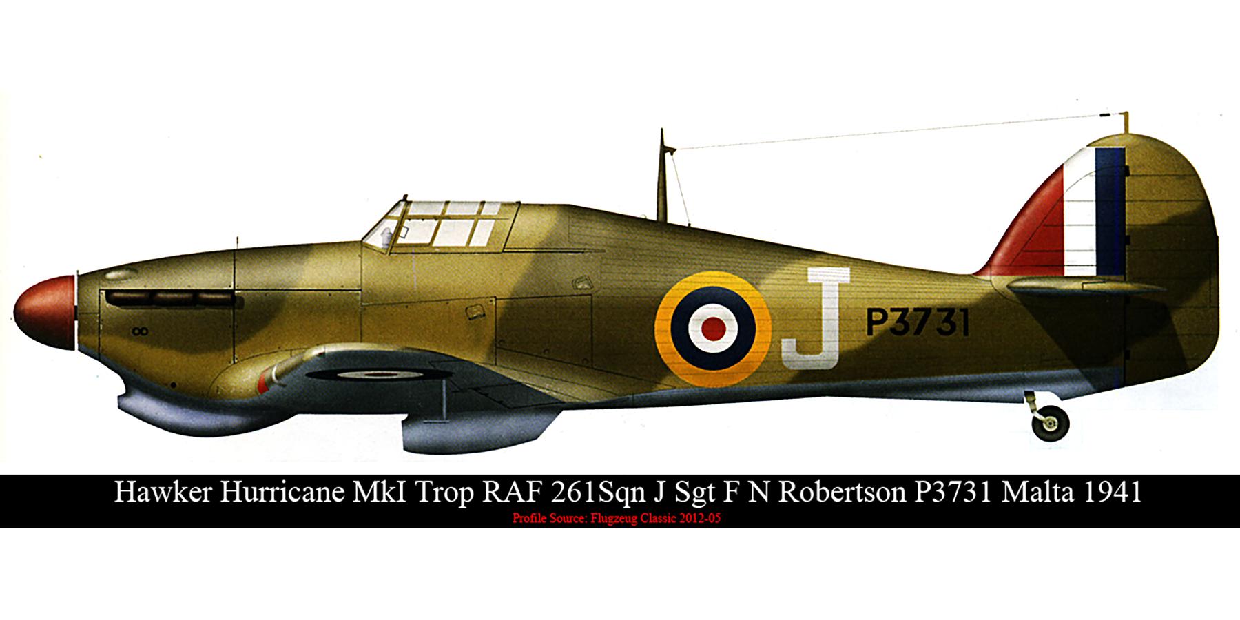 Hawker Hurricane I Trop RAF 261Sqn J Sgt F N Robertson P3731 Malta 1941 0A