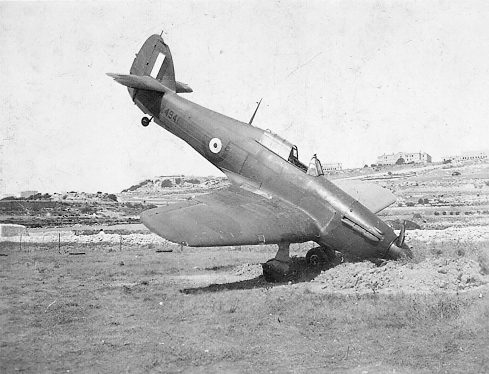 Hawker Hurricane IIb RAF Z4941 taxied into a bomb crater in Malta 01
