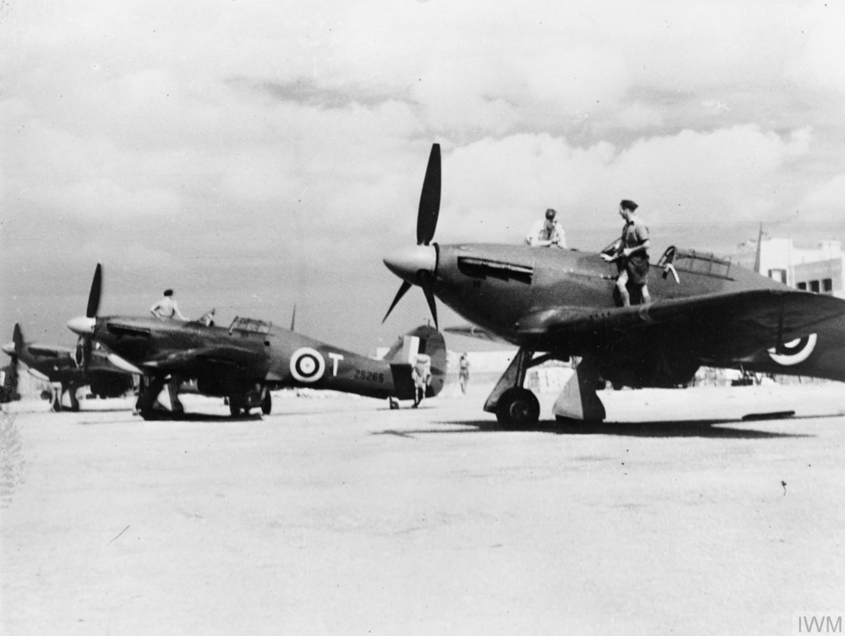 Hawker Hurricane IIs RAF 185Sqn T Z5265 at Hal Far Malta IWM CM1356
