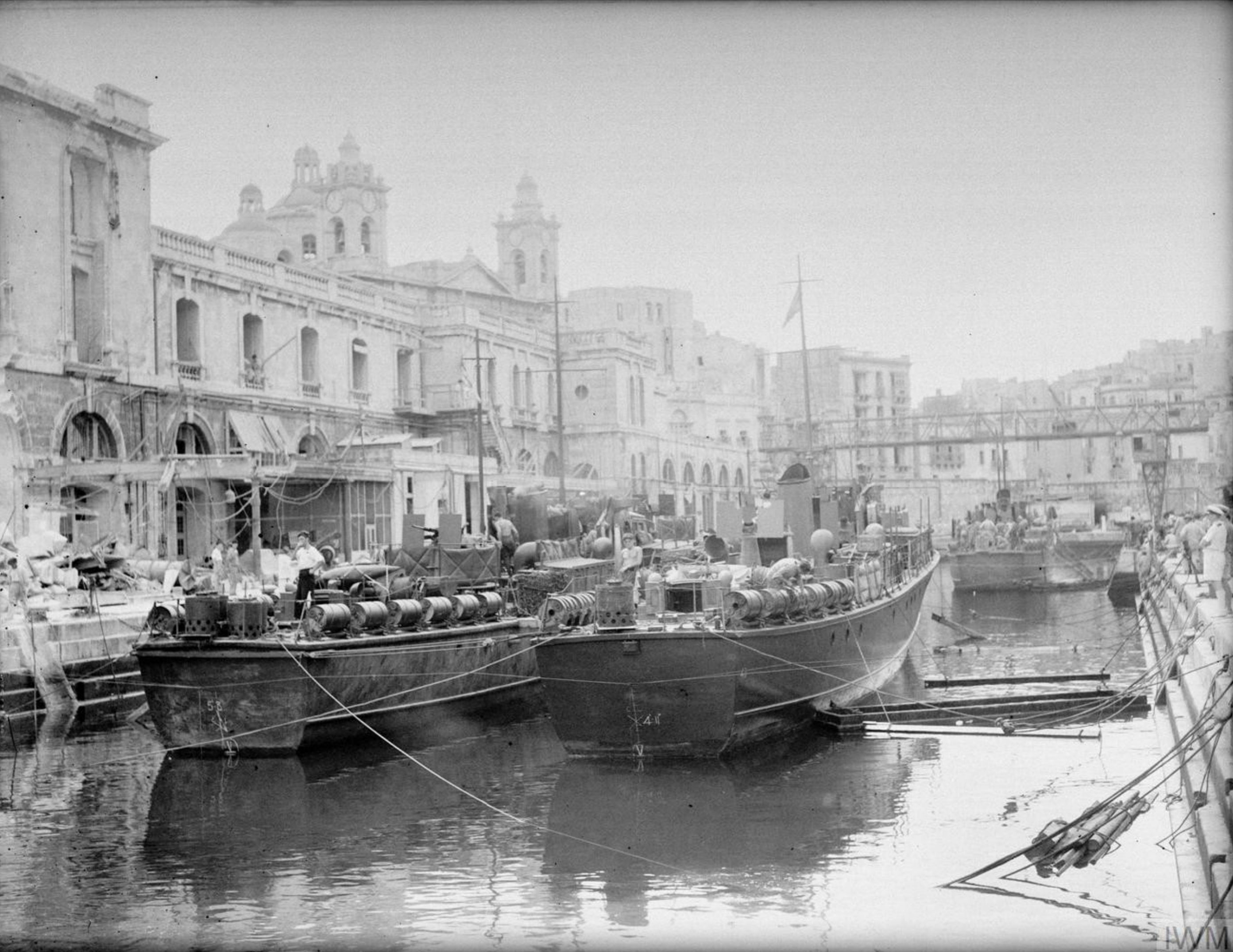 Motor Launches docked for repairs in no1 Grand Harbour Malta 19 24 Aug 1942 IWM A11492
