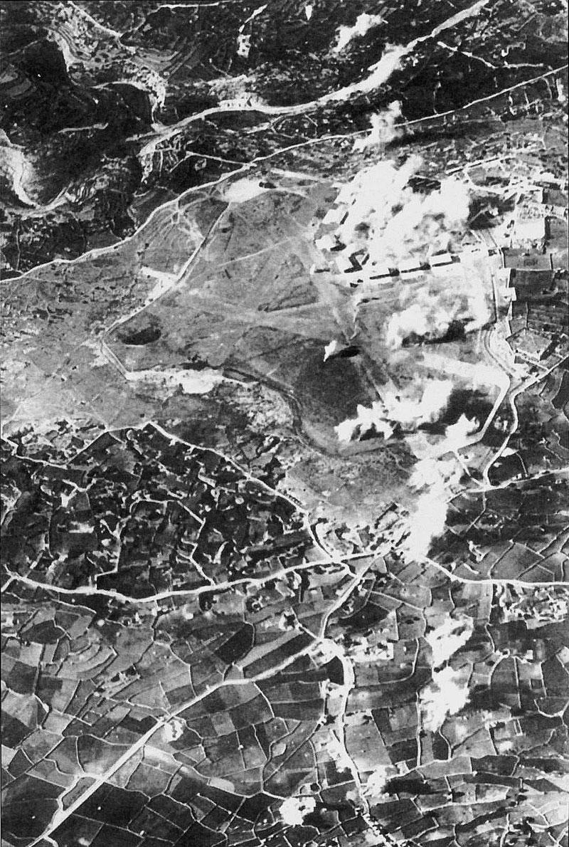 RAF airbase Luqa airfield after an axis air raid Malta 01