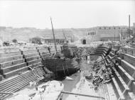 Asisbiz HMS Coral being broken up in Dry Dock no3 Grand Harbour Malta 19 24 Aug 1942 IWM A11487