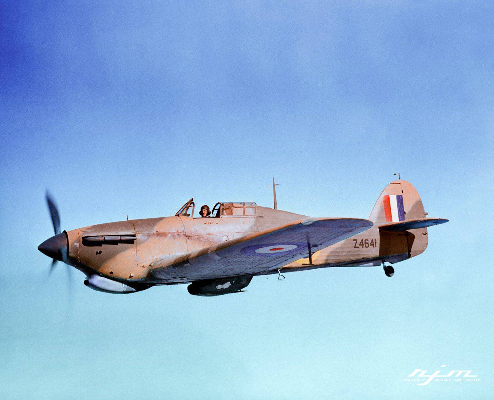 Hurricane II Trop RAAF 451Sqn Z4641 ver Libya IWM CM2183 colorized 01