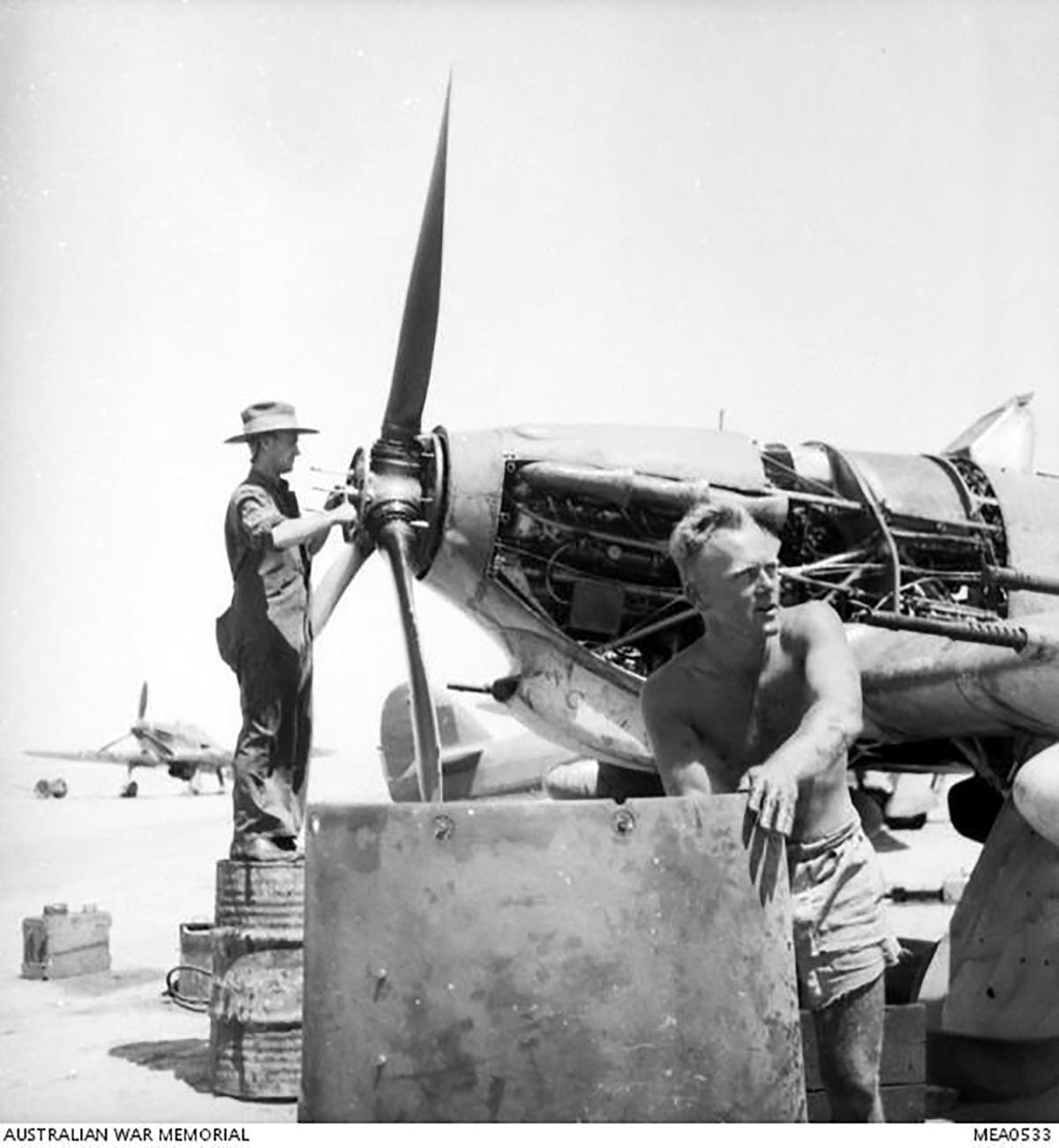 Hurricane IIc Trop RAAF 451Sqn propeller installation Egypt AWM 01