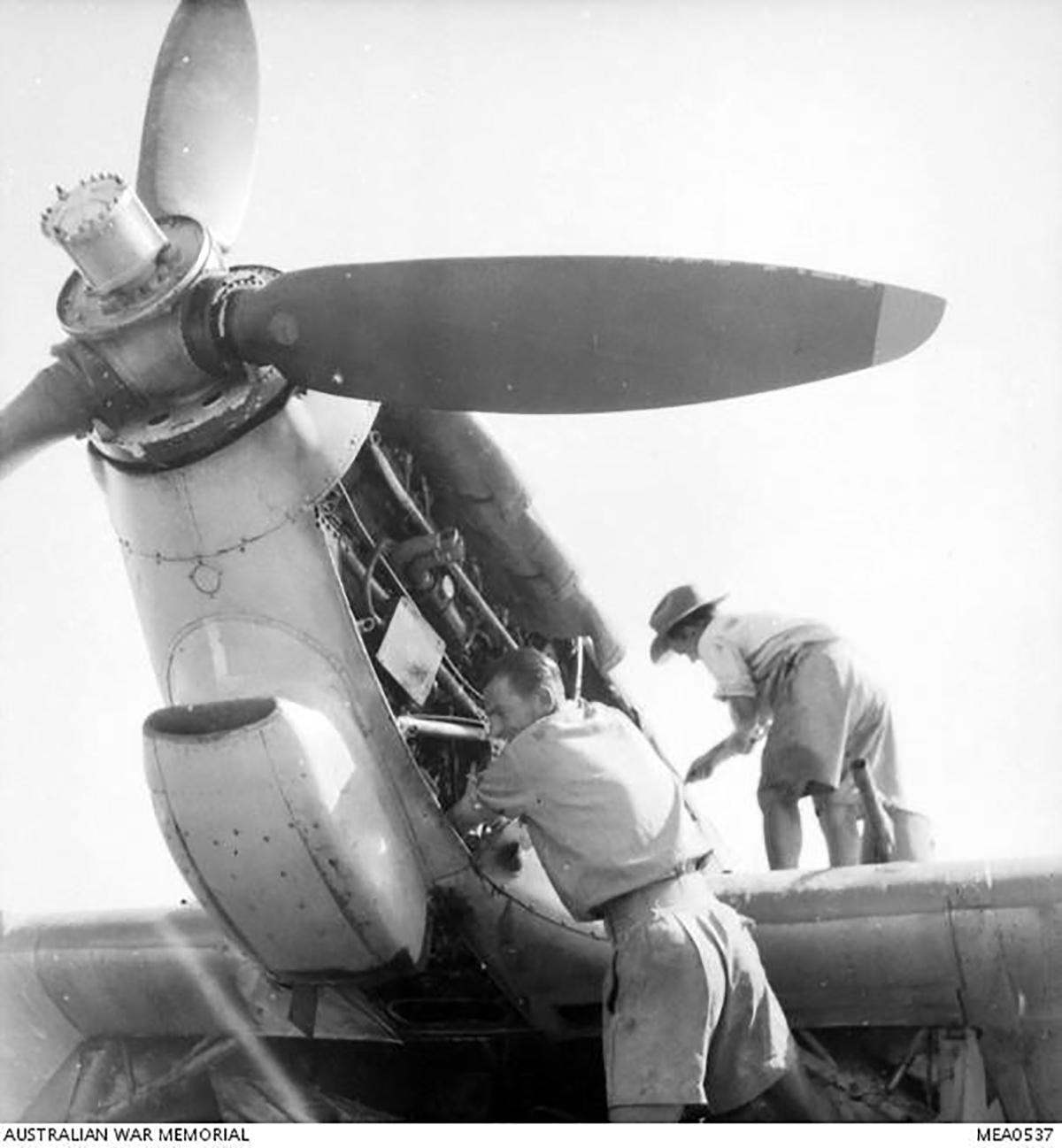 Hurricane IIc Trop RAAF 451Sqn propeller installation Egypt AWM 03
