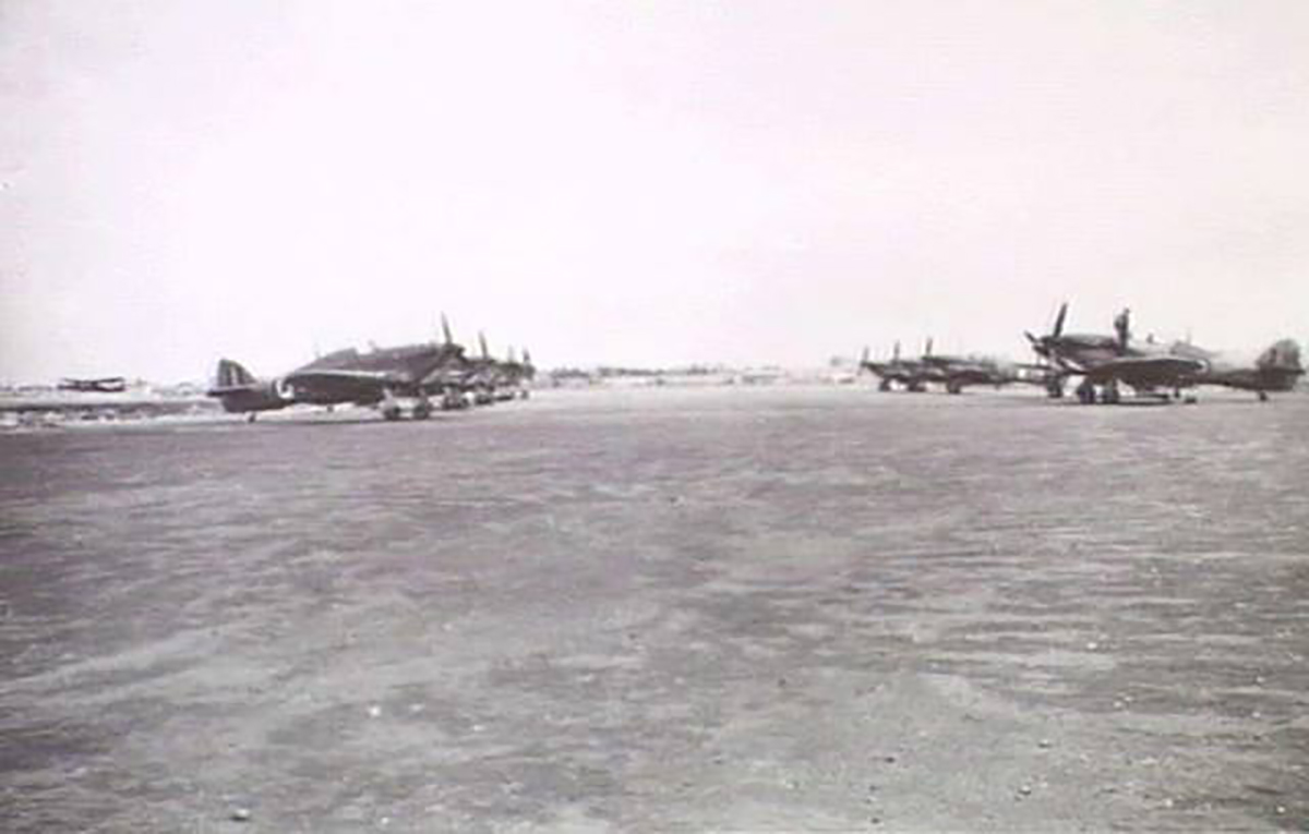 Hurricanes RAAF 451Sqn lined up at Egypt 01