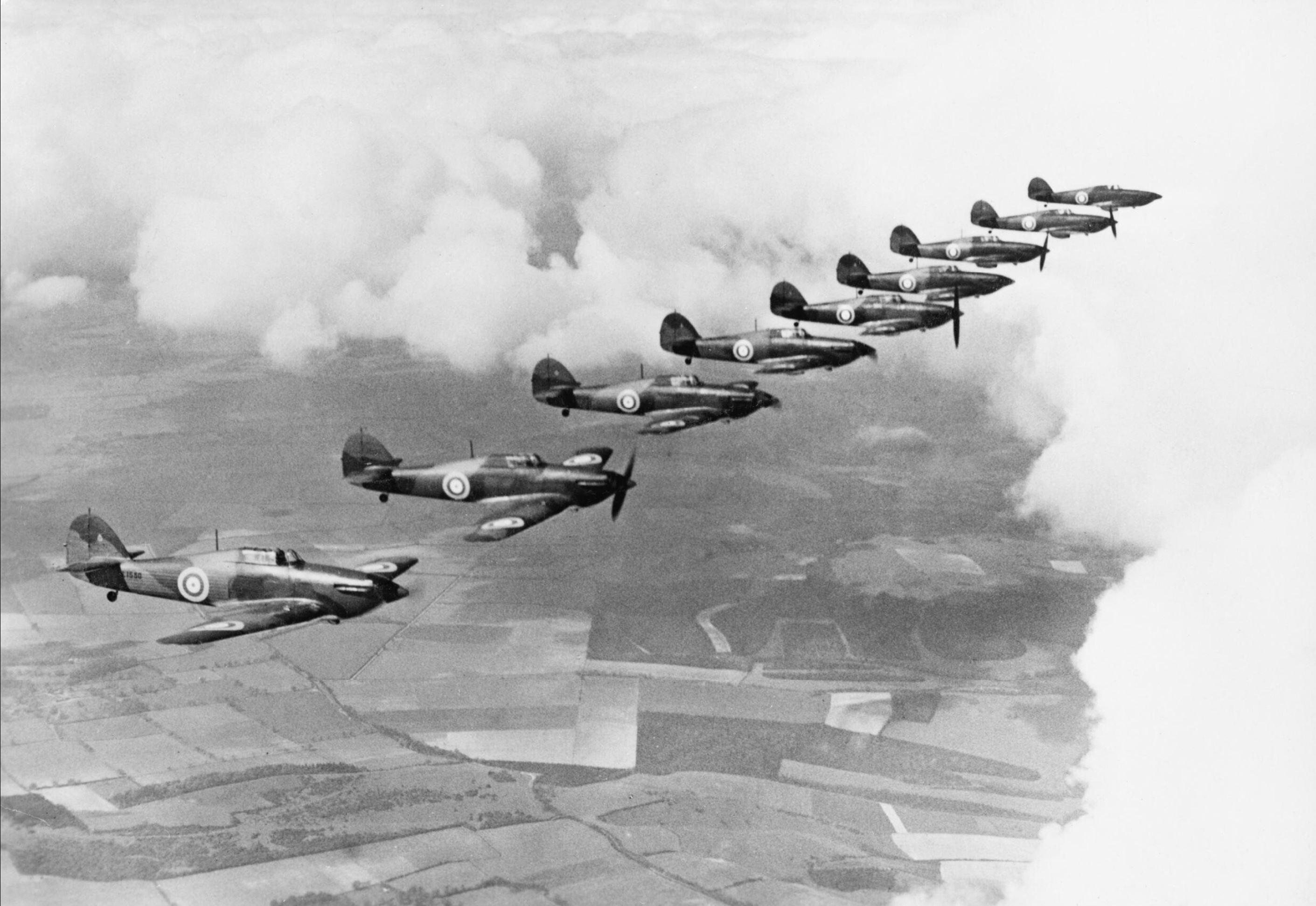 Hurricane IIb RAF 111Sqn over England 1938 IWM HU68334