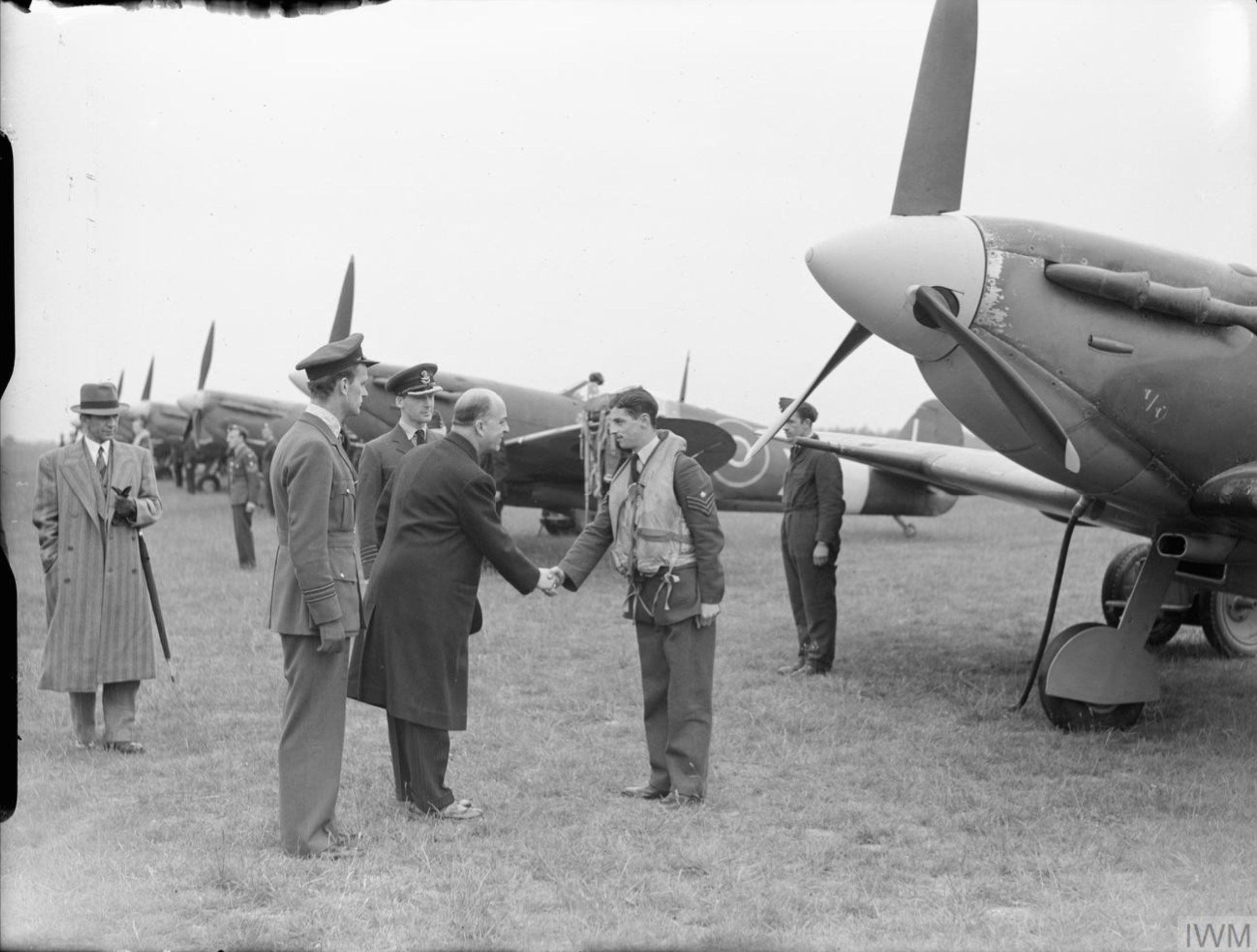 Spitfire Vb RAF 111Sqn O Bandeirante at Debden Essex IWM CH5942