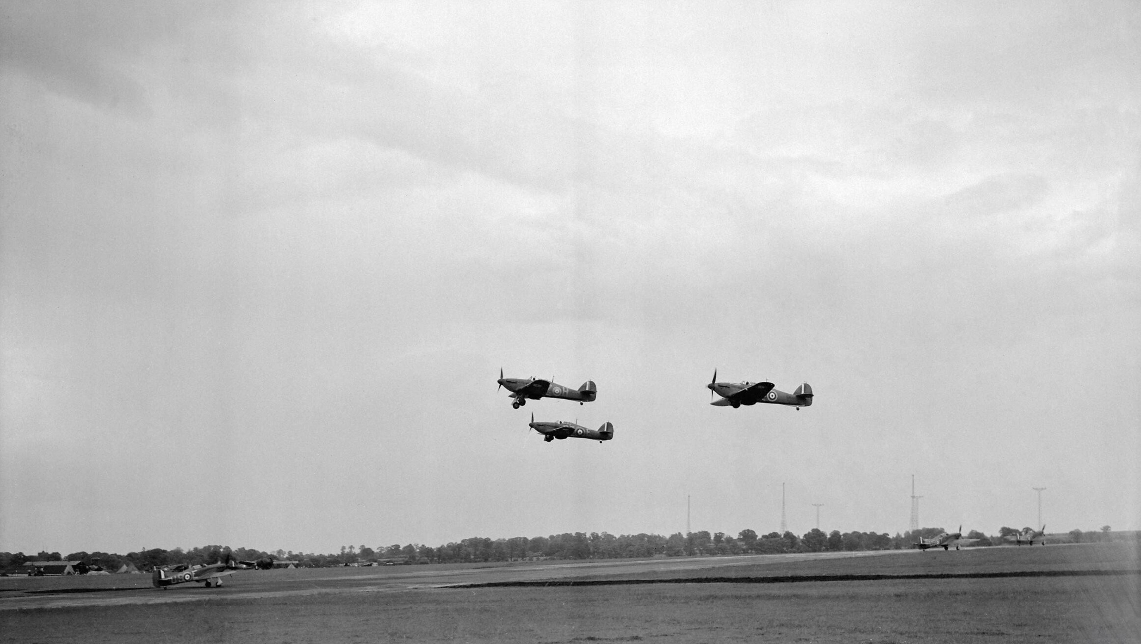 Hurricane Is RAF 151Sqn DZH DZE take off from North Weald Essex IWM CH162a