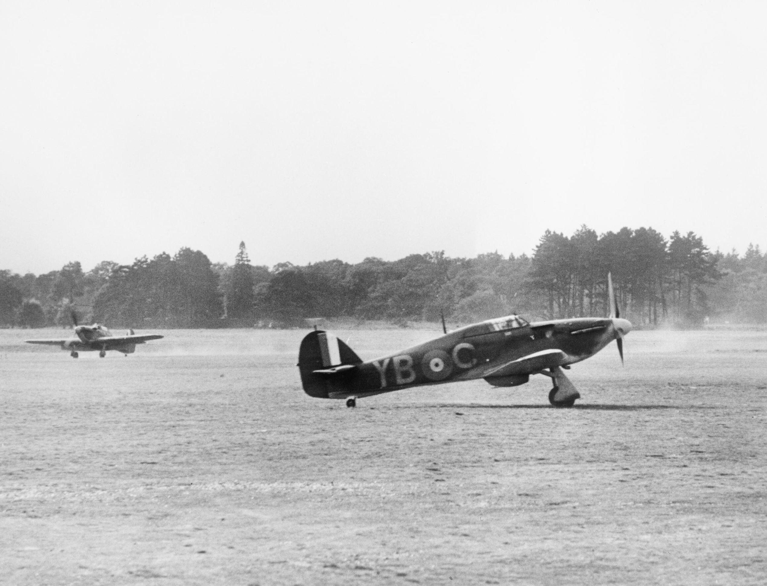 Hawker Hurricane I RAF 17Sqn YBC taxiing at Debden Jul 1940 IWM HU54517