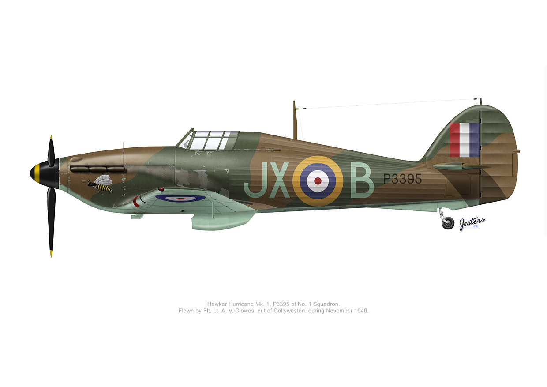 Hawker Hurricane I RAF 1Sqn JXB Arthur V Clowes P3395 England 1940 0B