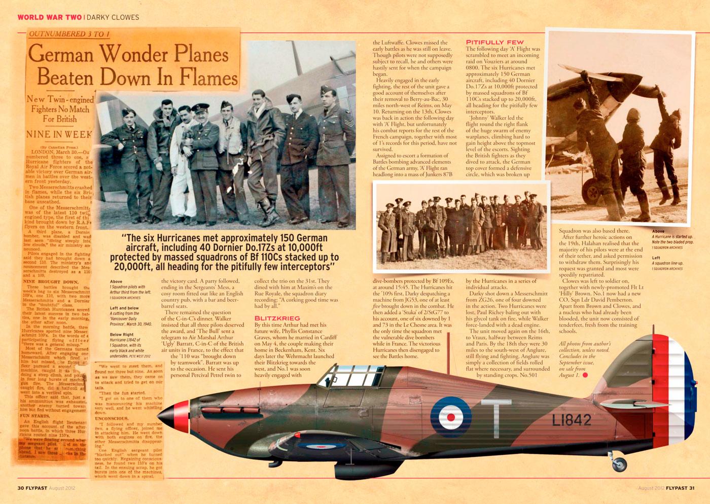 Hawker Hurricane I RAF 1Sqn T Arthur V Clowes L1842 England 1940 0A
