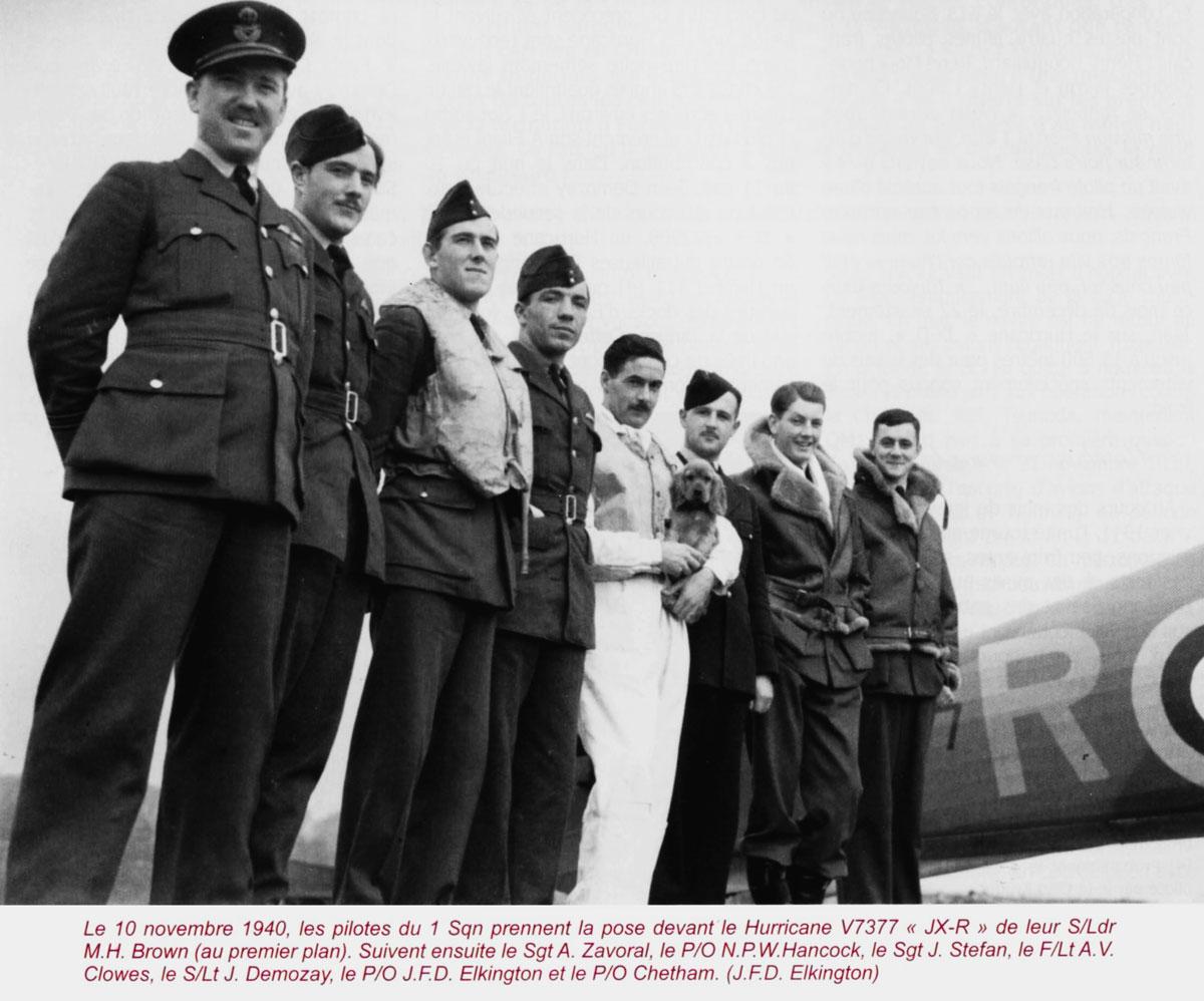 Hawker Hurricane IIb RAF 1Sqn JXR V7377 Jean Demozay group photo 10th Nov 1940 01