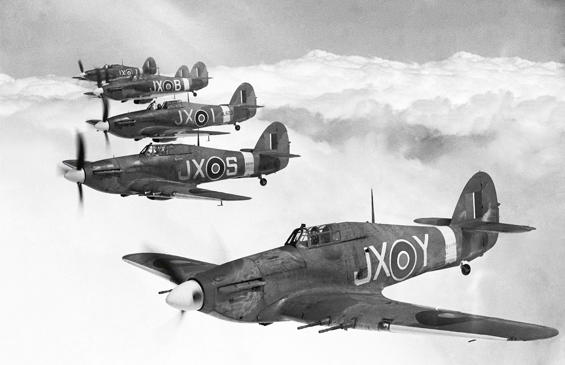 Hawker Hurricane IIc RAF 1 Squadron JXY Z3778 in formation Tangmere 1942 01