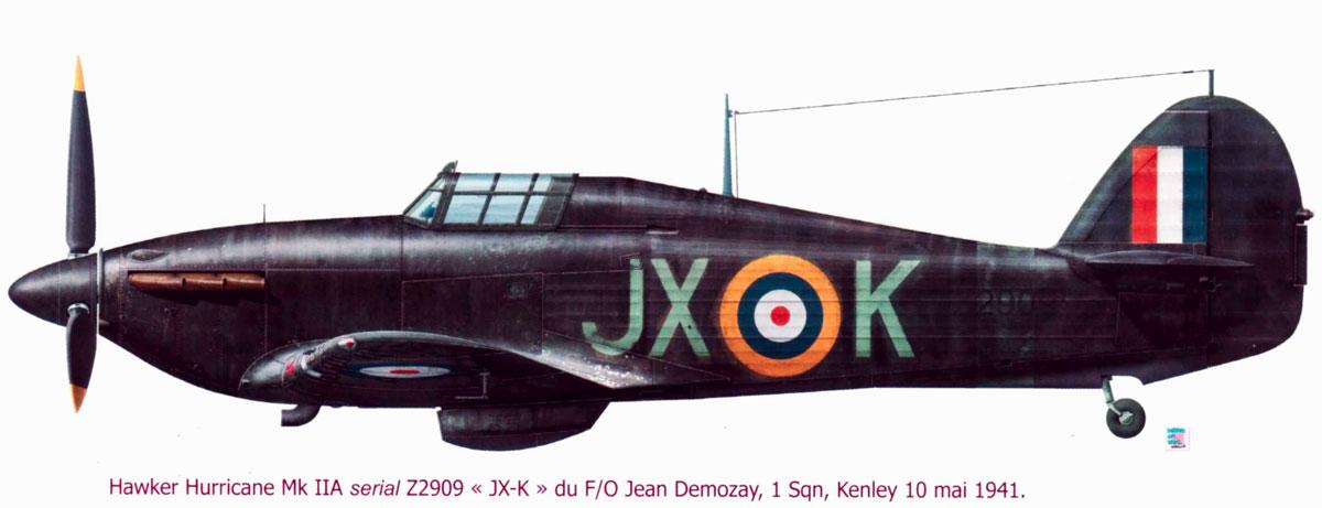 Hurricane IIa RAF 1Sqn JXK Jean Demozay Z2909 Kenley England 10th May 1940 0A