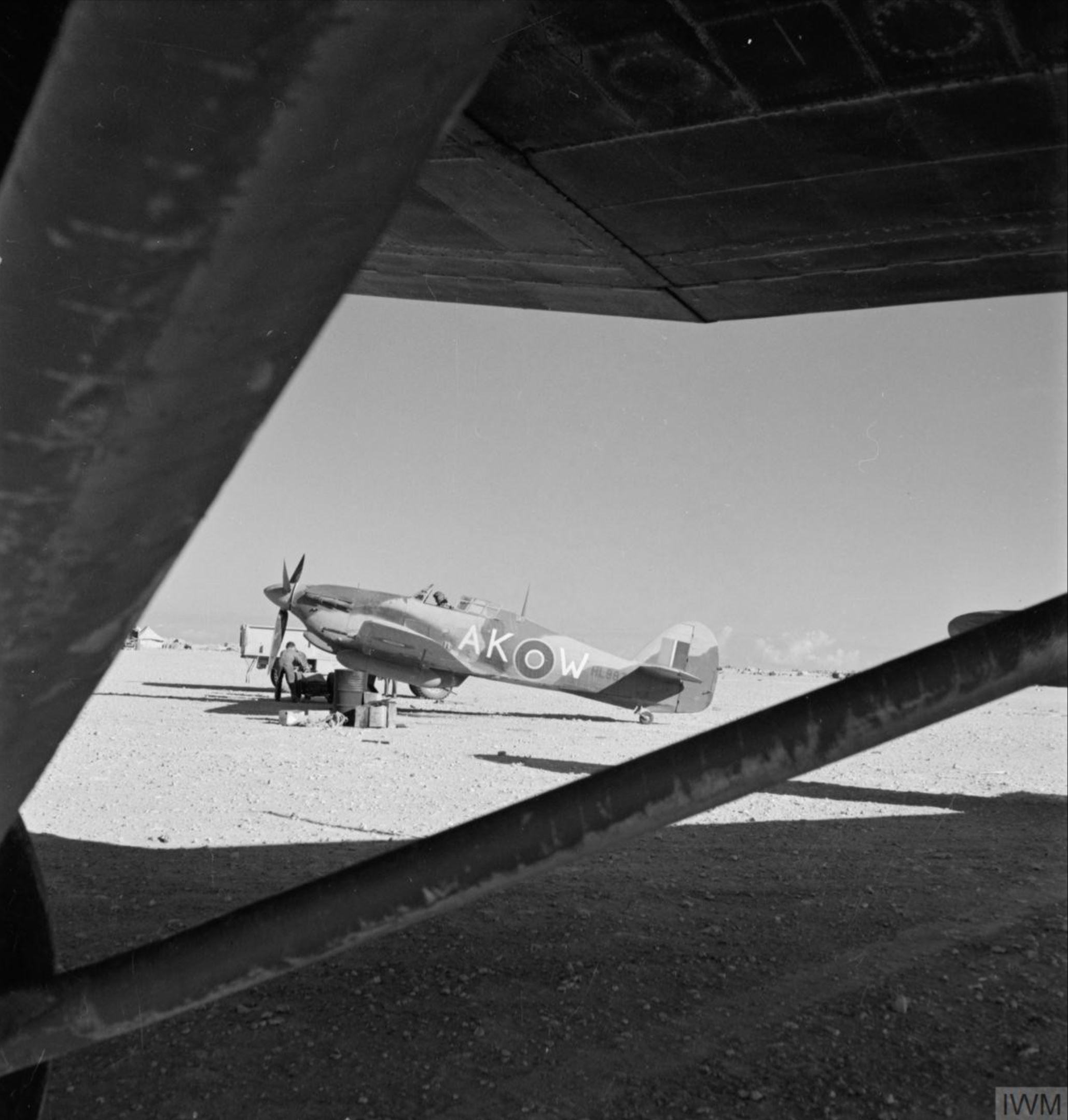 Hawker Hurricane IIb Trop RAF 213Sqn AKW HL887 at El Adem Libya 1941 IWM CM4098