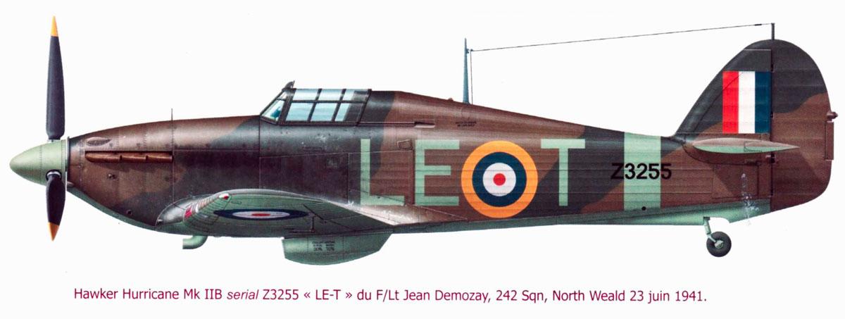 Hawker Hurricane IIb RAF 1Sqn LET Jean Demozay Z3255 North Weald England 23rd Jun 1941 0A