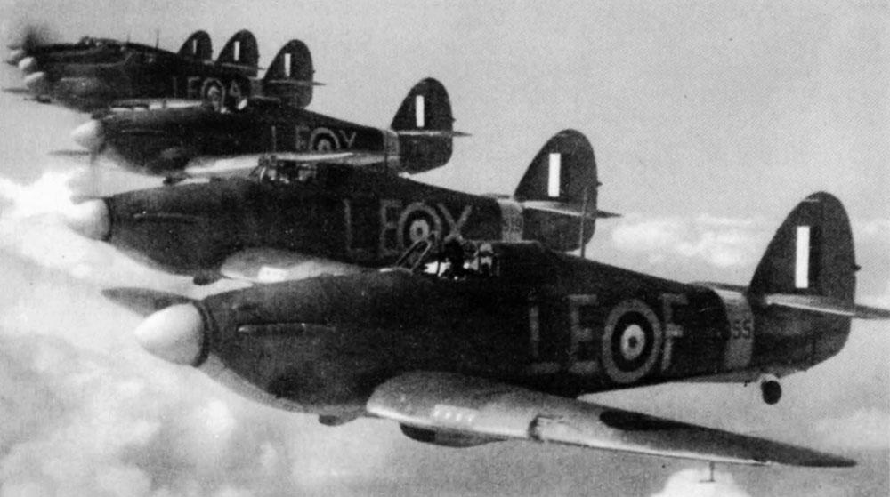 Hawker Hurricane IIb RAF 242Sqn LEF formation with LEX, LEY and LEA 19th Jun 1941 01