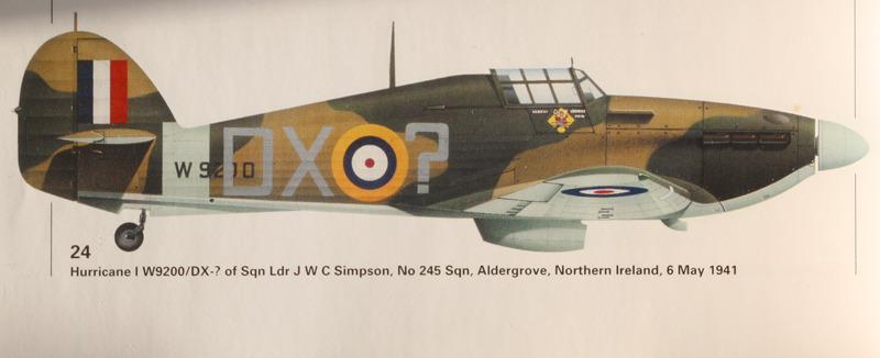 Hawker Hurricane I RAF 245Sqn DX W2900 SLdr J Simpson Aldergrove Northern Ireland May 6th 1941