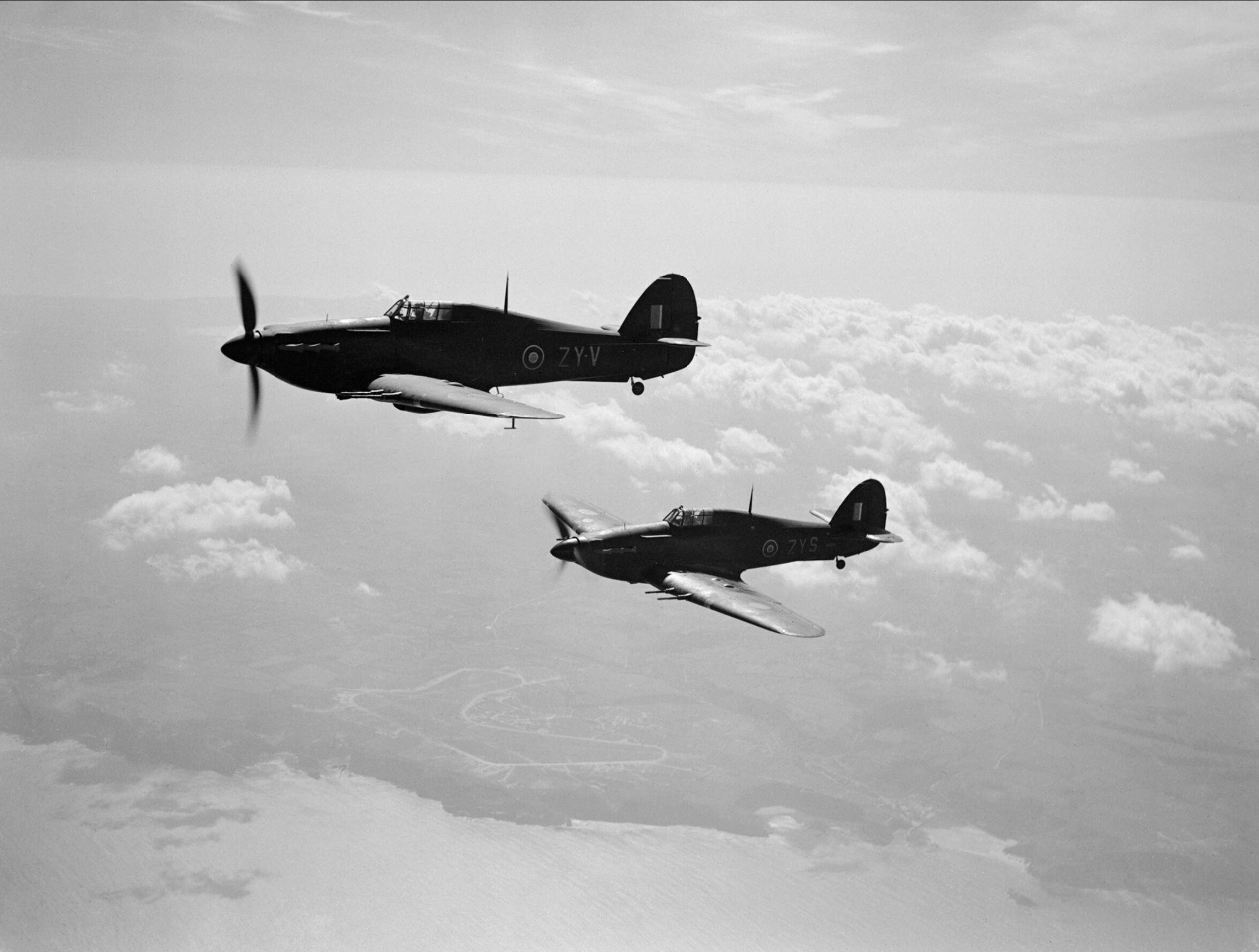 Hurricane IIC RAF 247Sqn ZYV BE634 ZYS BD936 based at Predannack Cornwall IWM CH5485