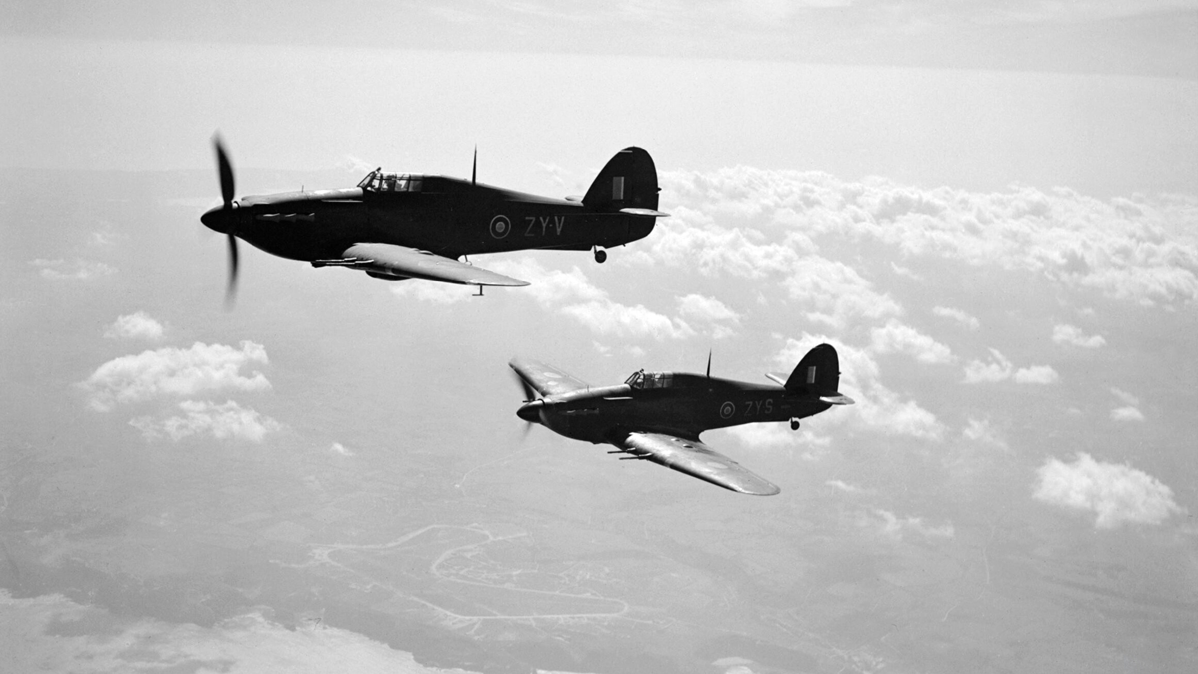 Hurricane IIC RAF 247Sqn ZYV BE634 ZYS BD936 based at Predannack Cornwall IWM CH5485a