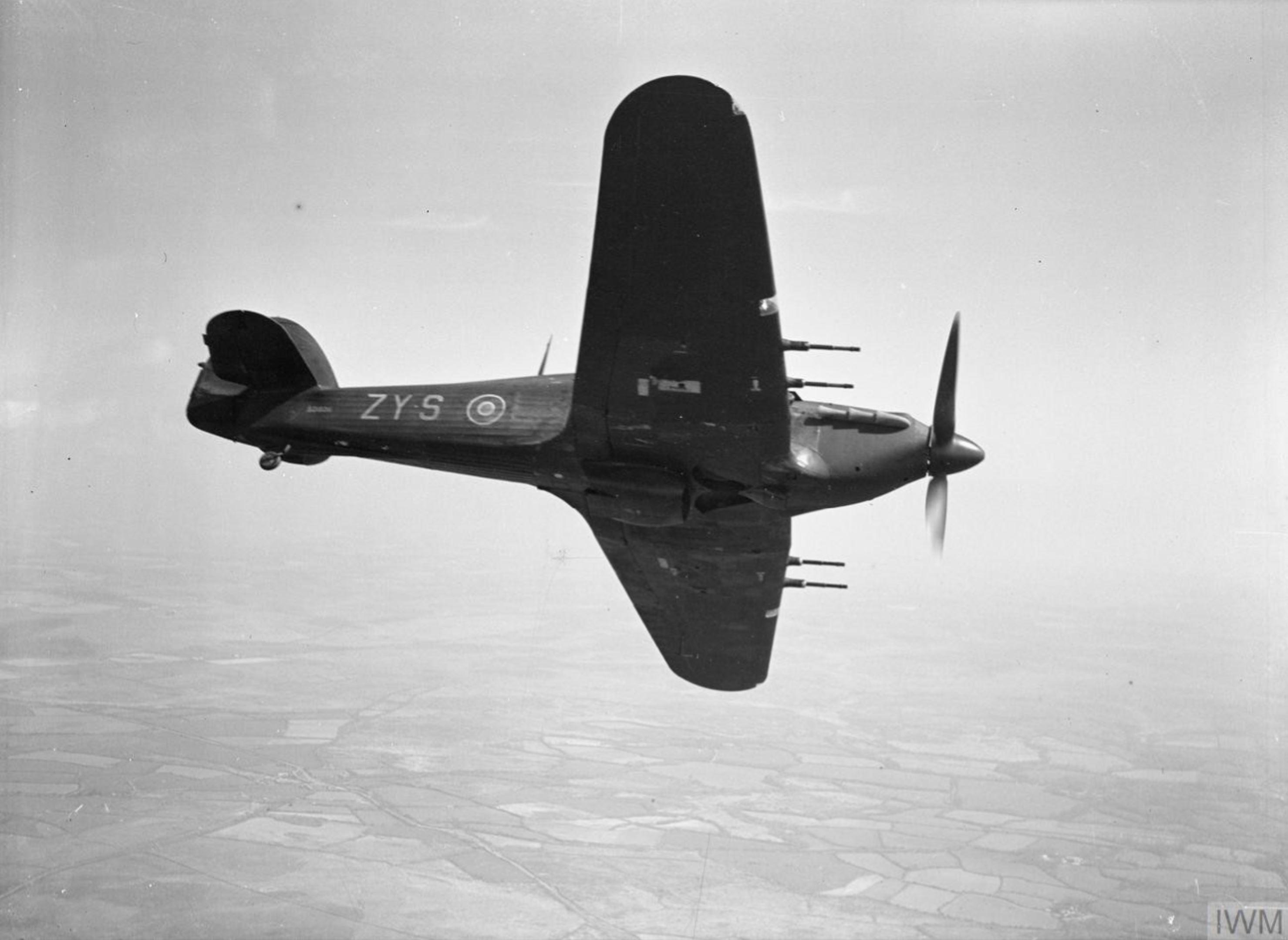 Hurricane IIc RAF 247Sqn ZYS BD936 over England April 1942 IWM CH5486