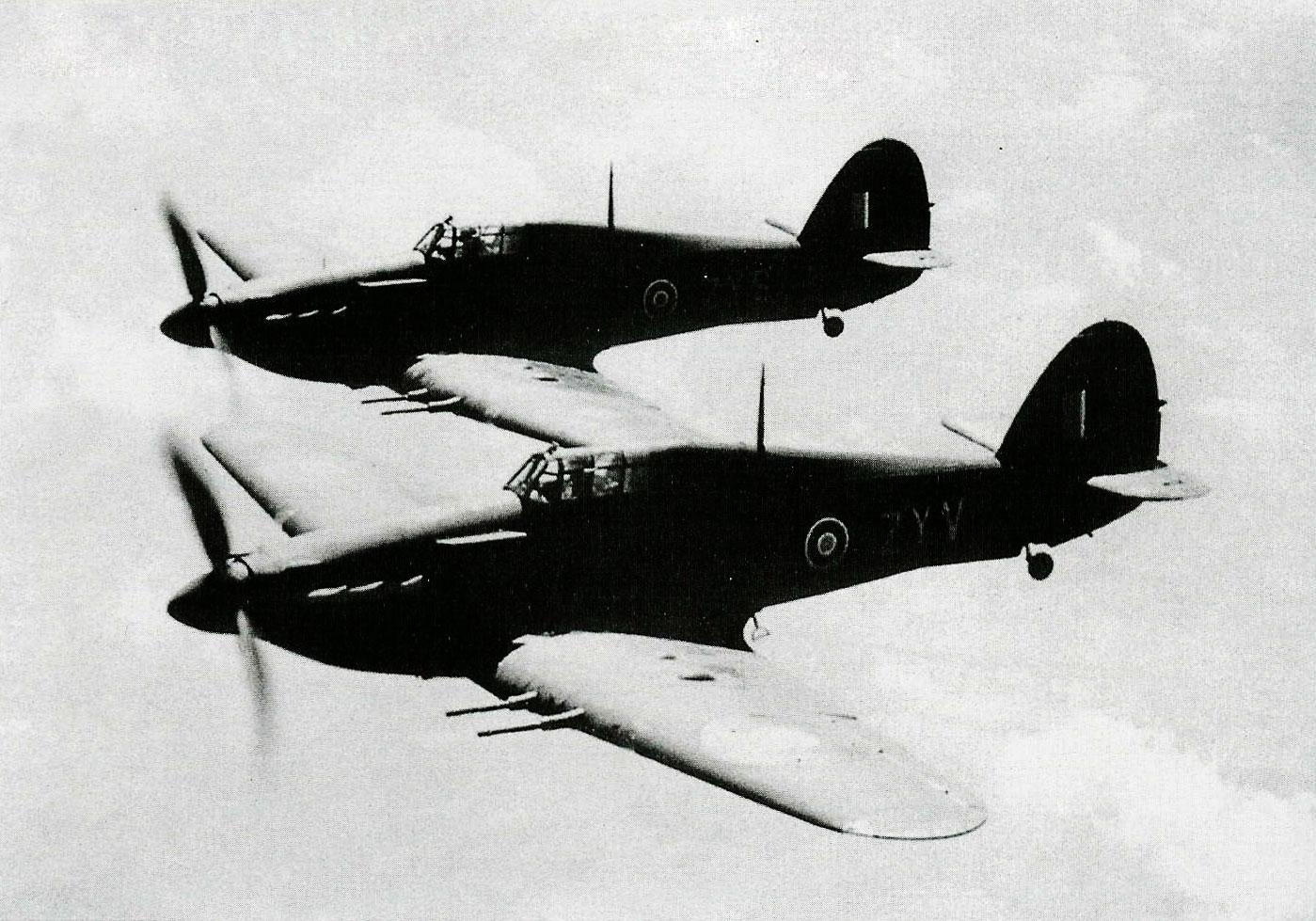 Hurricane IIc RAF 247Sqn ZYV BE634 and ZYS BD936 England 1942 01
