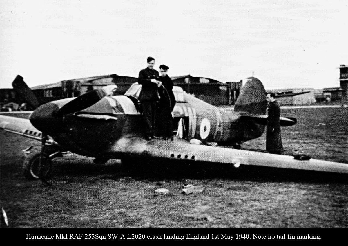 Hurricane I RAF 253Sqn SWA L2020 crash landing England 1st May 1940 01