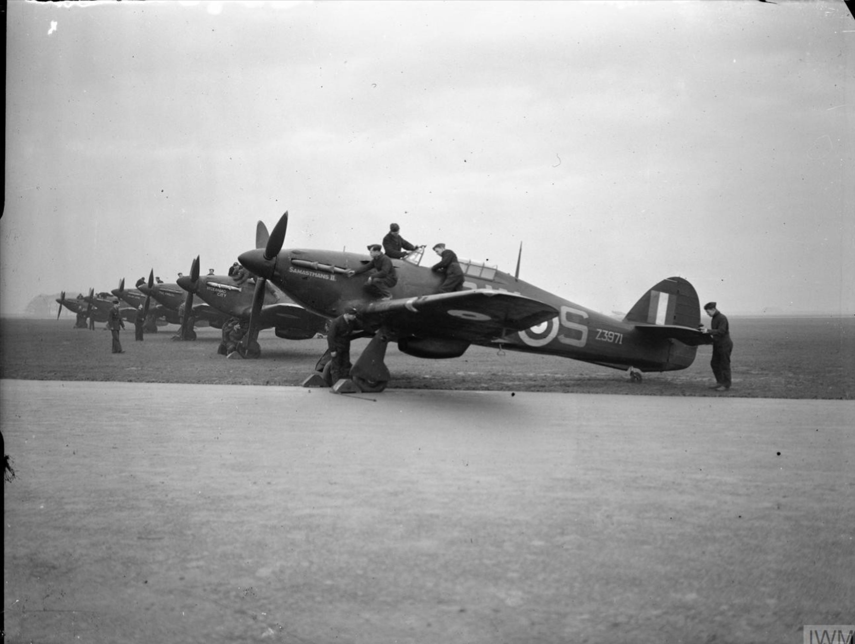 Hurricane IIb RCAF 253Sqn SWS Z3971 lined up at Hibaldstow Lincolnshire 1942 IWM CH4391