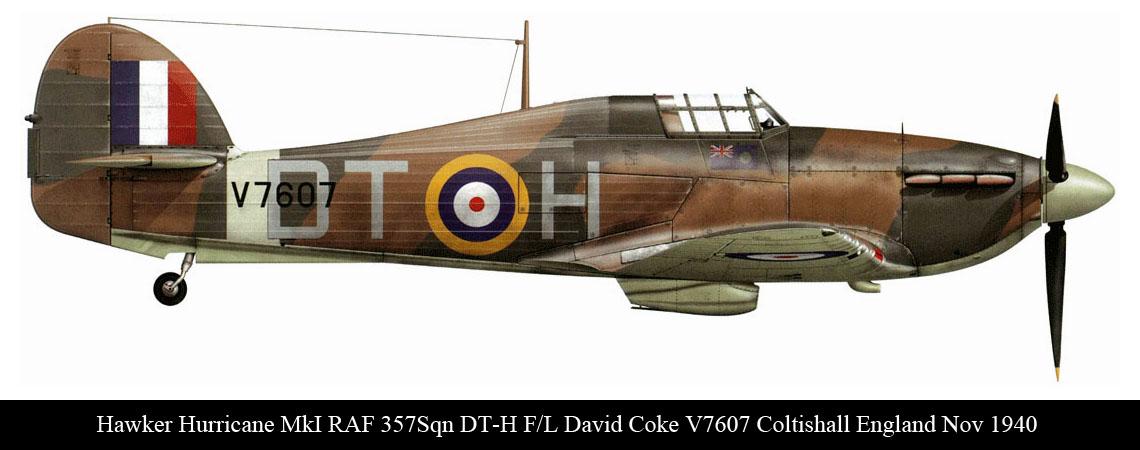 Hurricane I RAF 257Sqn DTH David Coke V7607 Coltinshall England Nov 1940 0A