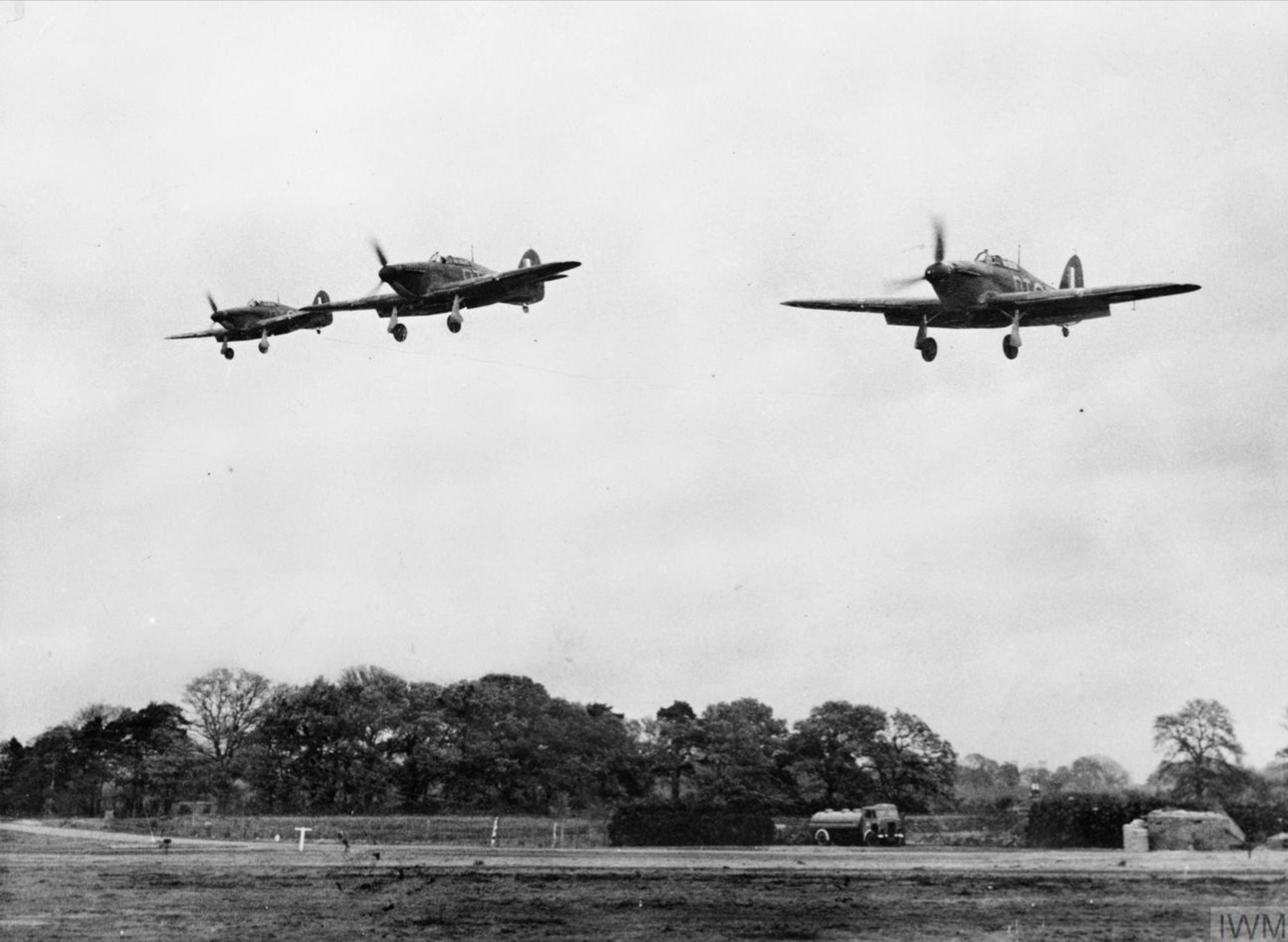 Hurricane I RAF 257Sqn landing at Martlesham Heath 1940 IWM CH1673