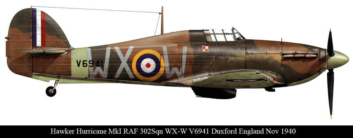 Hurricane I RAF 302Sqn WXW V6941 Duxford England Nov 1940 0A