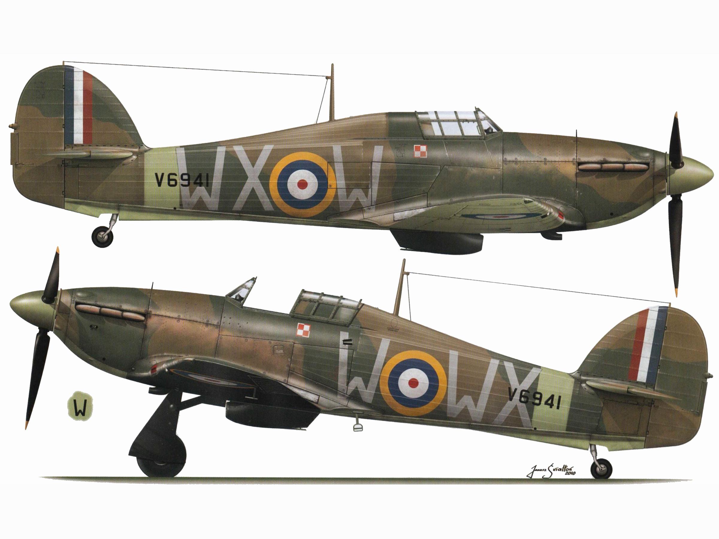 Hurricane I RAF 302Sqn WXW V6941 Duxford England Nov 1940 TC15016