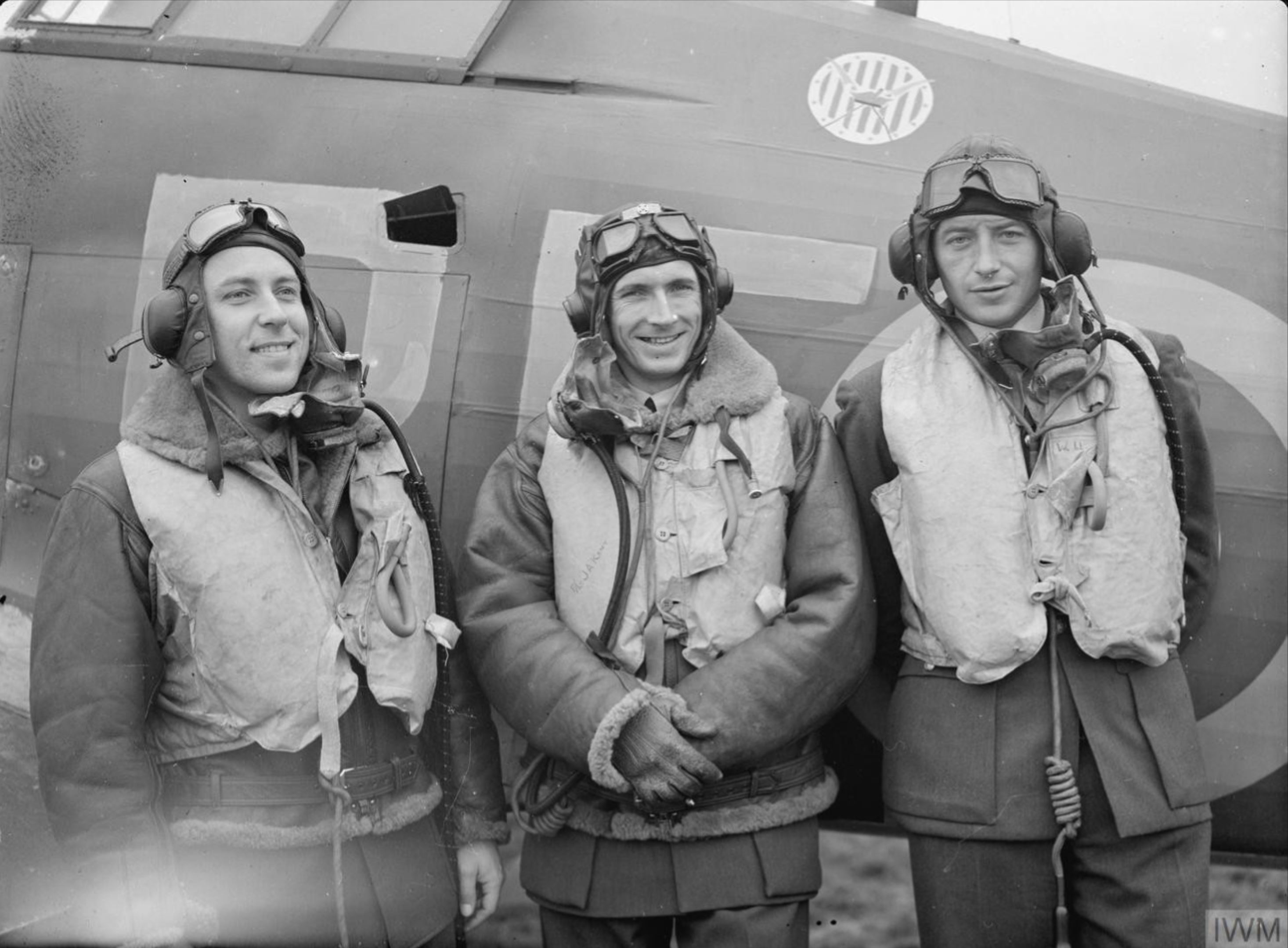 Aircrew RAF 303Sqn (Polish) pilots at RAF Leconfield Yorkshire 24th Oct 1940 IWM CH1532