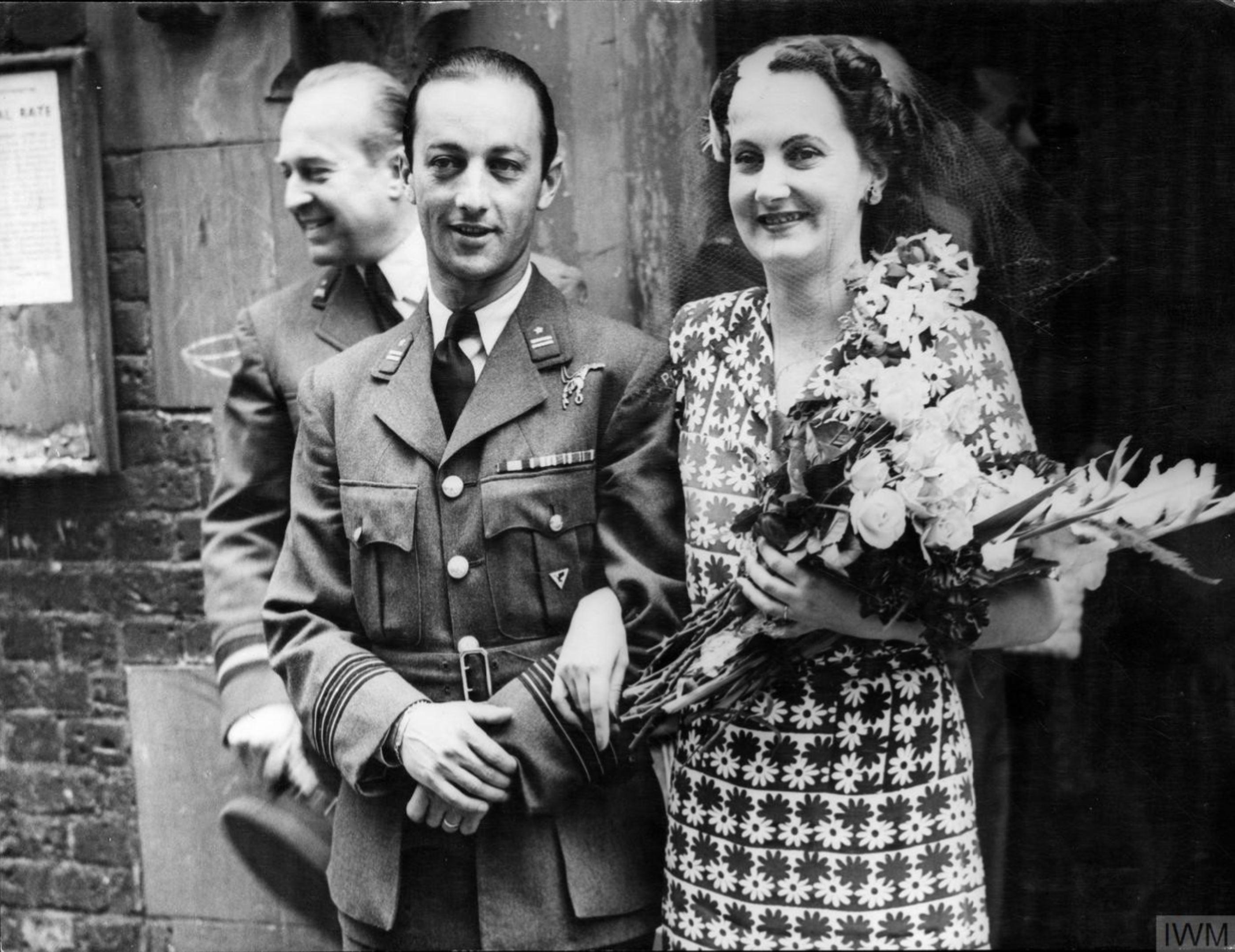 Aircrew RAF 303Sqn (Polish) pilots at Tadeusz Sawicz wedding ceremony 24 Aug 1944 IWM HU128081