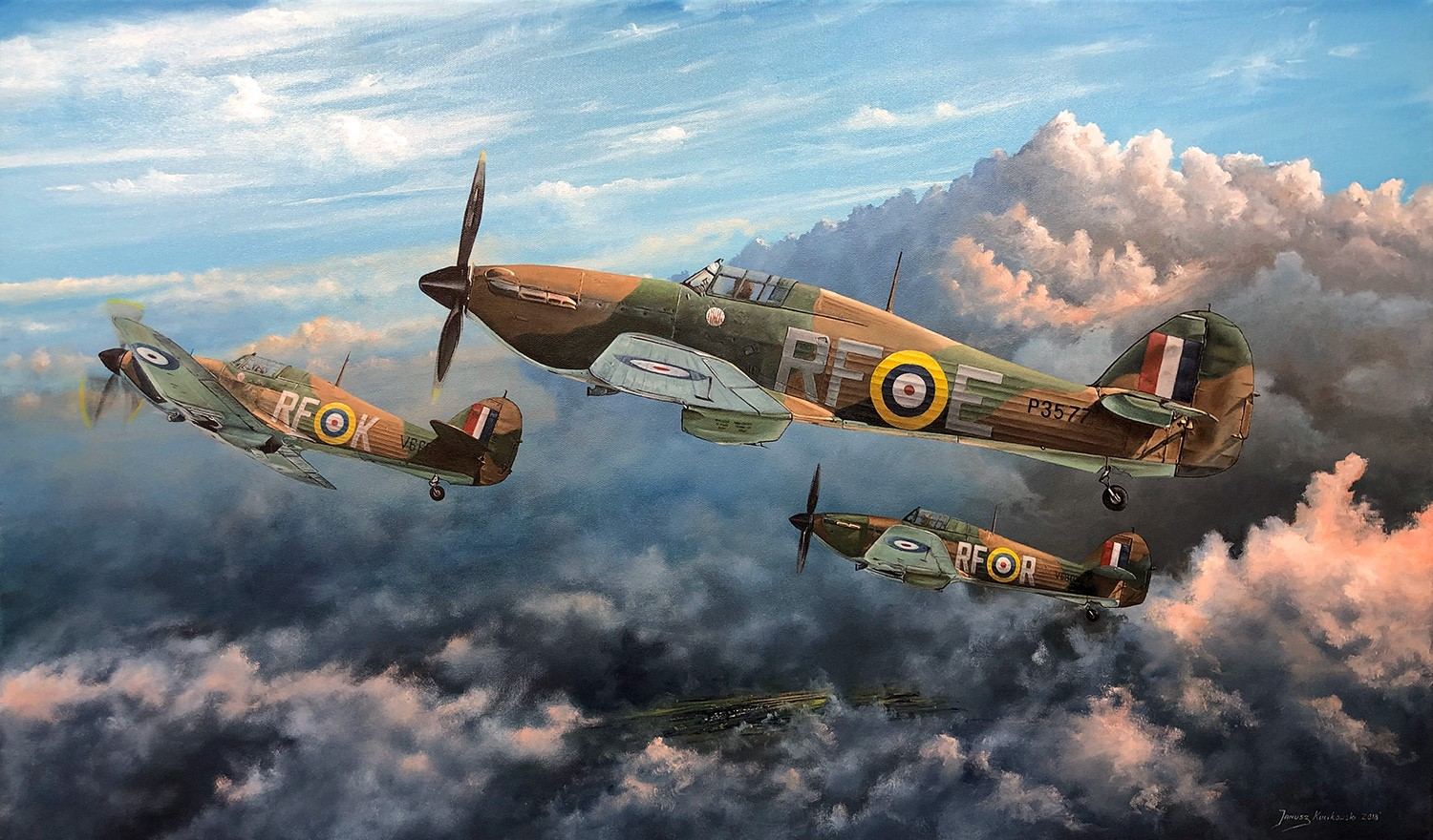 Artwork featuring the famous 303 Squadron 0A