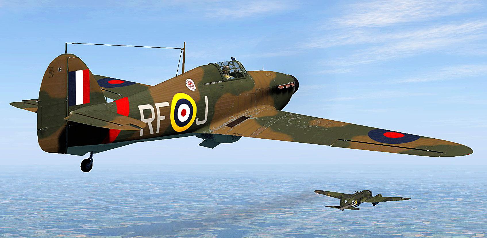 COD SO Hurricane I RAF 303Sqn RFJ Tadeusz Anduszkow V6665 attacking a Heinkel over England V01