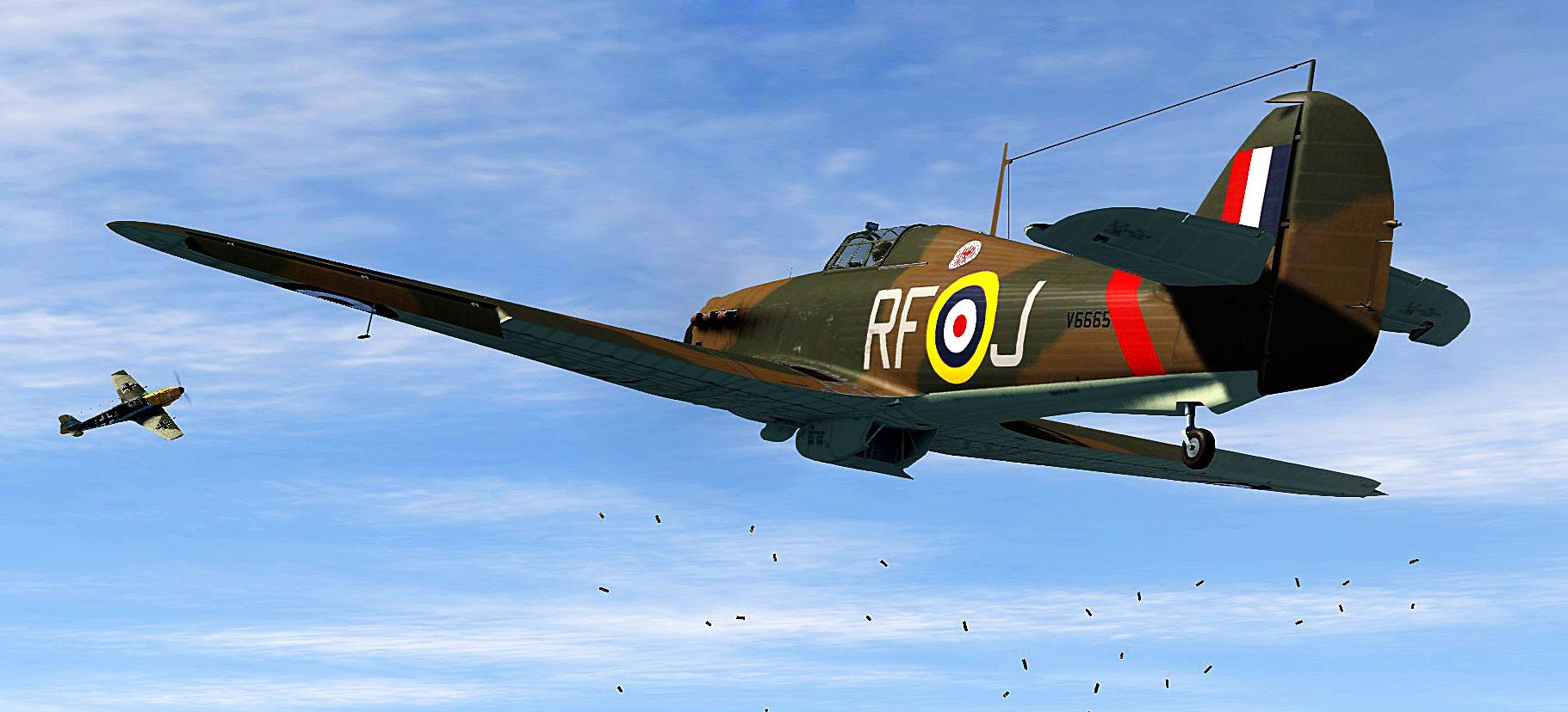 Hurricane I RAF 303Sqn RFJ John Kent V6665 tries to nail a Me 109 over England V01