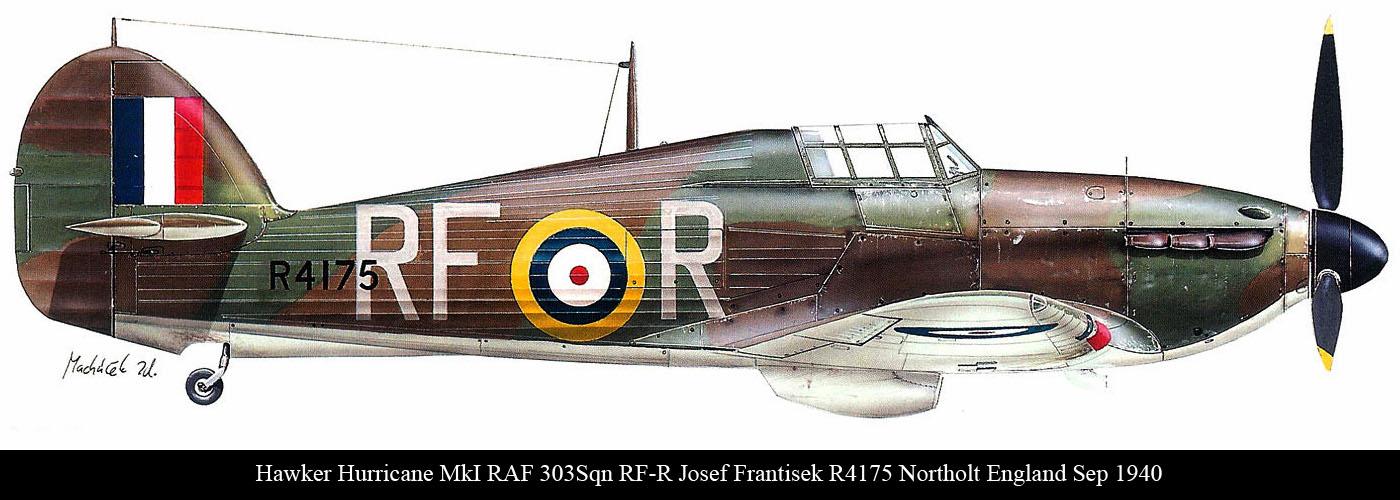 Hurricane I RAF 303Sqn RFR Josef Frantisek R4175 England 1940 0A