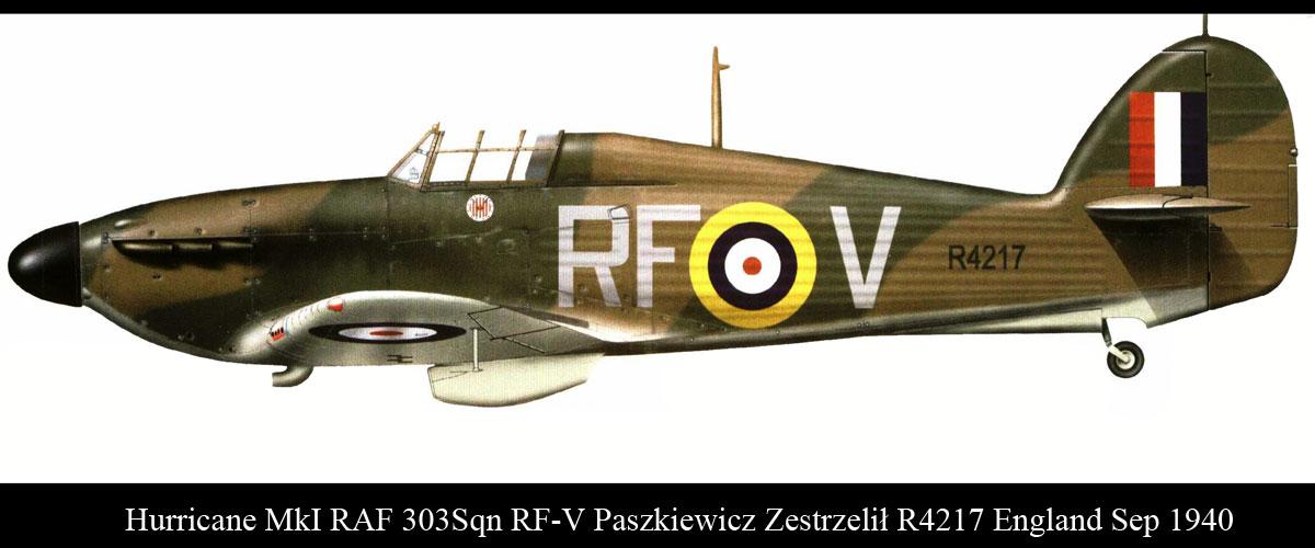 Hurricane I RAF 303Sqn RFV Paszkiewicz Zestrzelil R4217 England Sep 1940 01