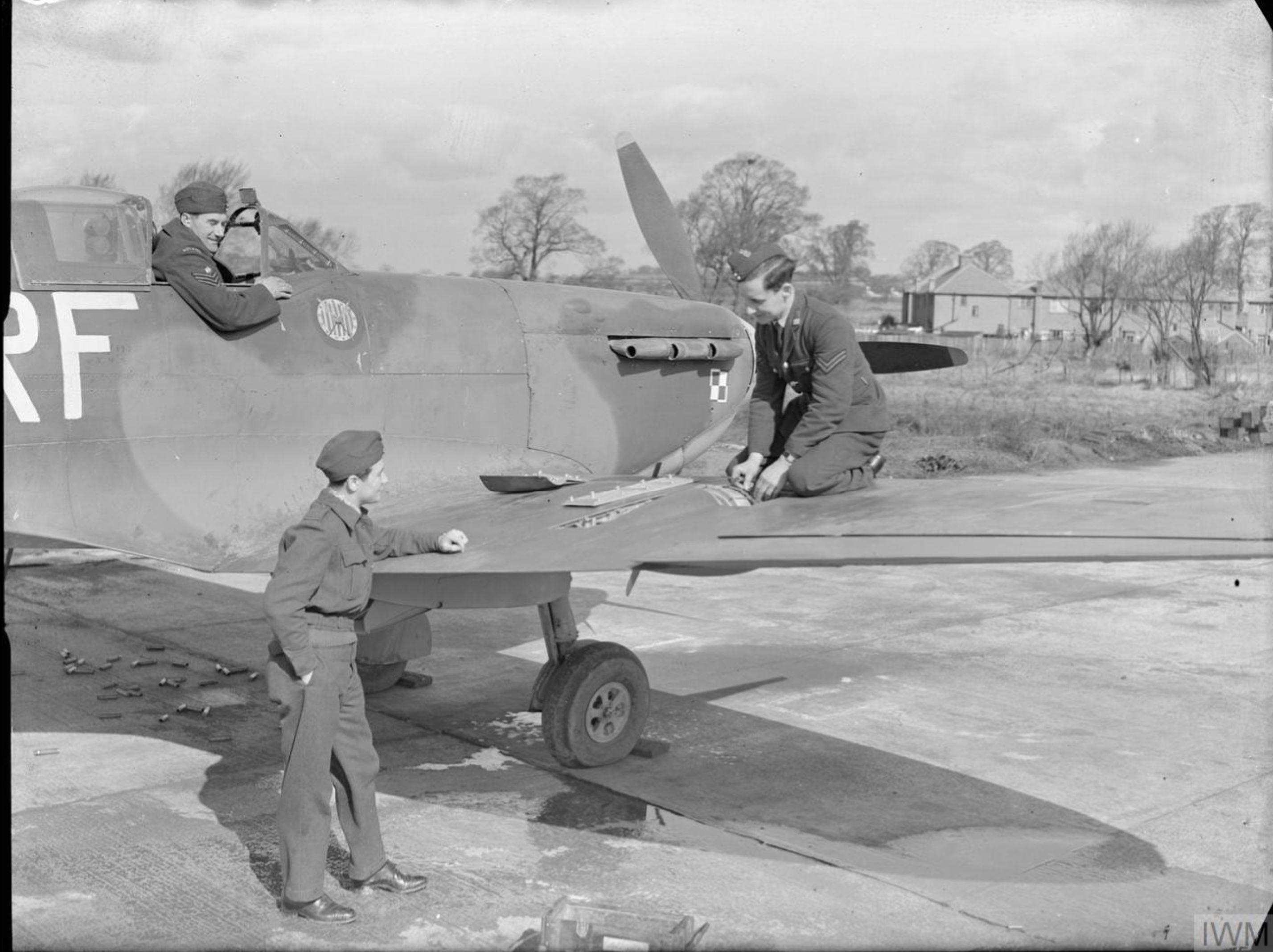 Spitfire Vb RAF 303Sqn gun test at RAF Northolt IWM CH5506
