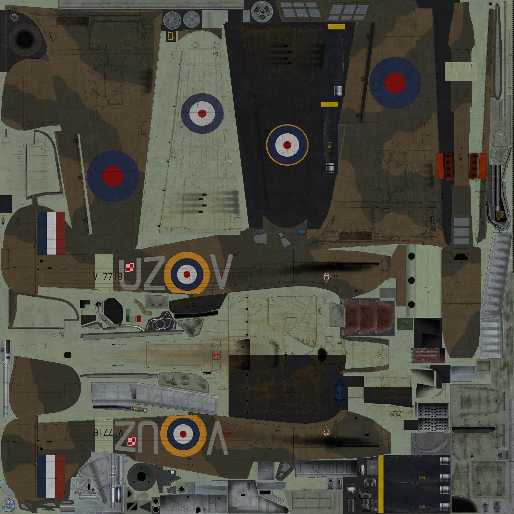 COD YY Hurricane I RAF 306Sqn UZV V7118 Ternhill England 1941 01