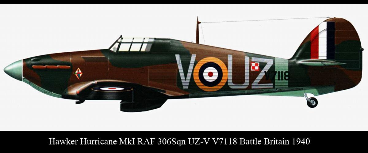 Hawker Hurricane I RAF 306Sqn UZV V7118 Battle Britain 1940 0A