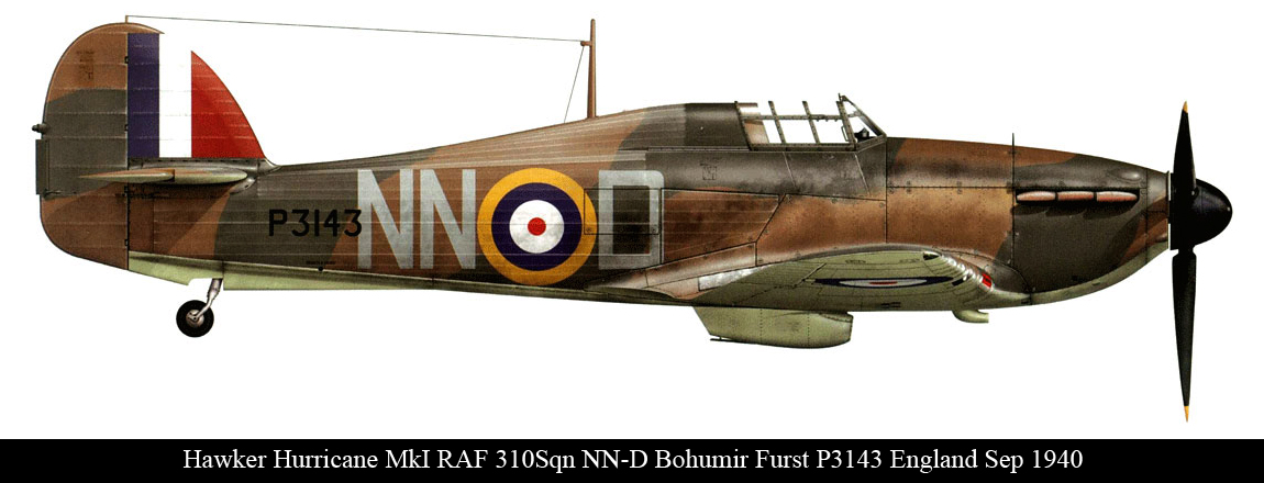 Hurricane I RAF 310Sqn Czech NND Bohumir Furst P3143 England Sep 1940 0A