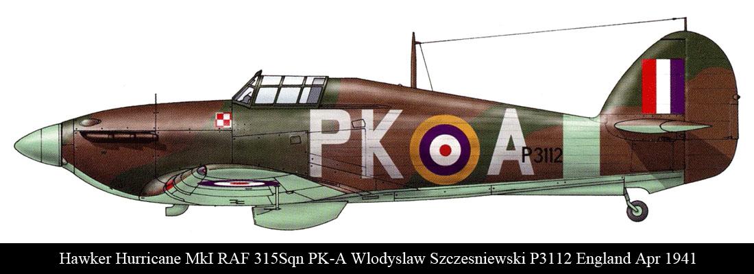 Hurricane I RAF 315Sqn PKA Wlodyslaw Szczesniewski P3112 England Apr 1941 0A