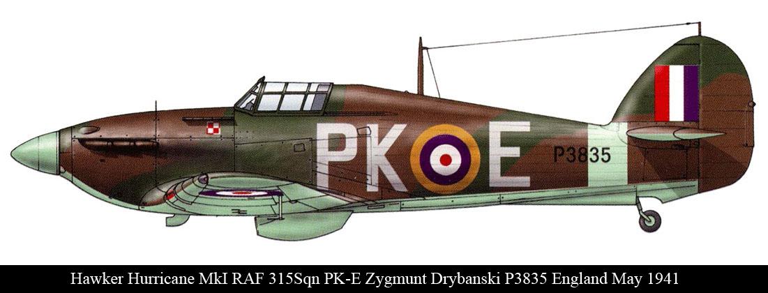 Hurricane I RAF 315Sqn PKE Zygmunt Drybanski P3835 England May 1941 0A