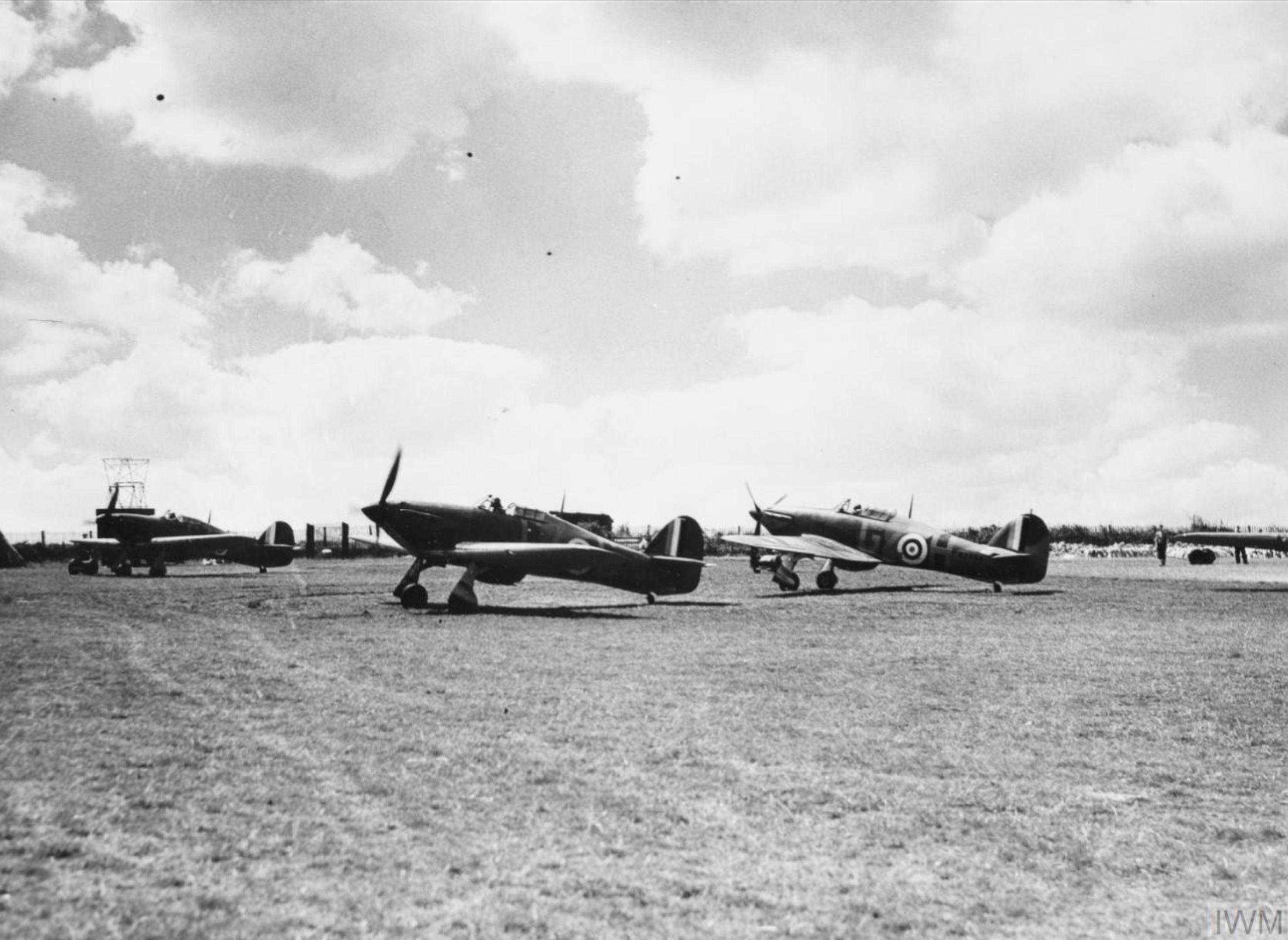 Hurricane I RAF 32Sqn GZ taxing at RAF Hawkinge 29 Jul 1940 IWM HU69116
