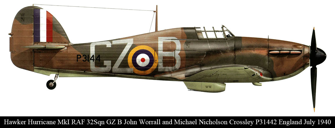 Hurricane I RAF 32Sqn GZB John Worrall P3144 England July 1940 0A