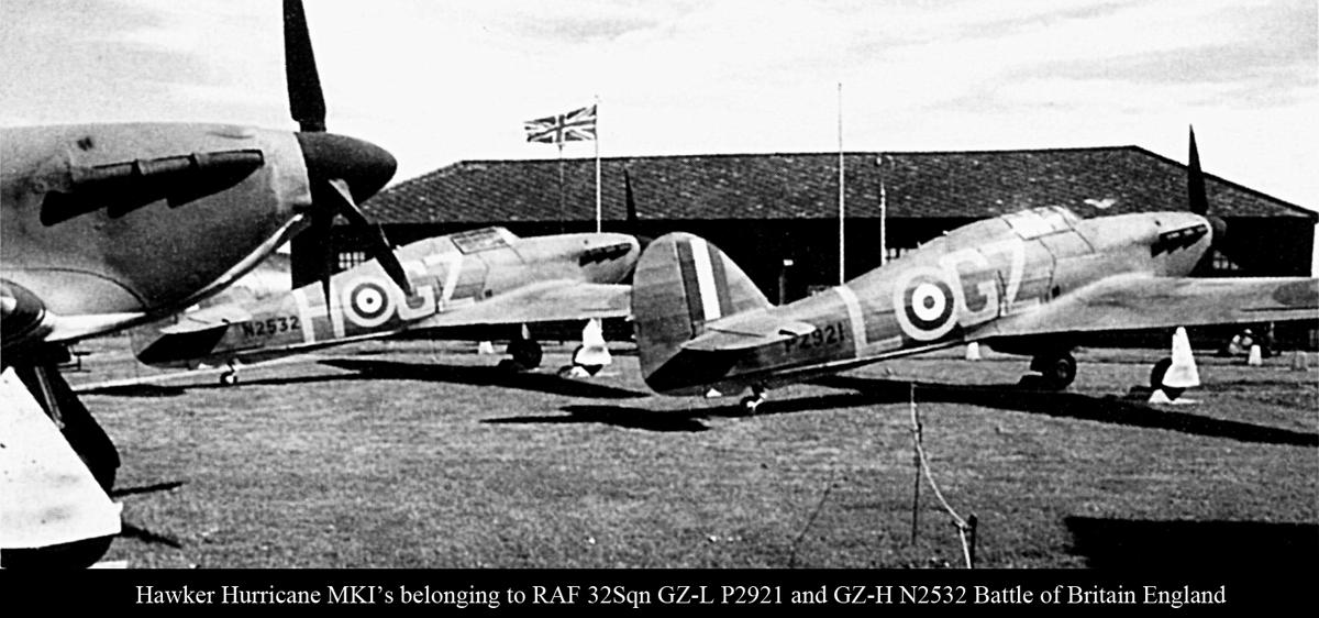 Hurricane I RAF 32Sqn GZL P2921 and GZH N2532 Battle of Britain England 1940 01