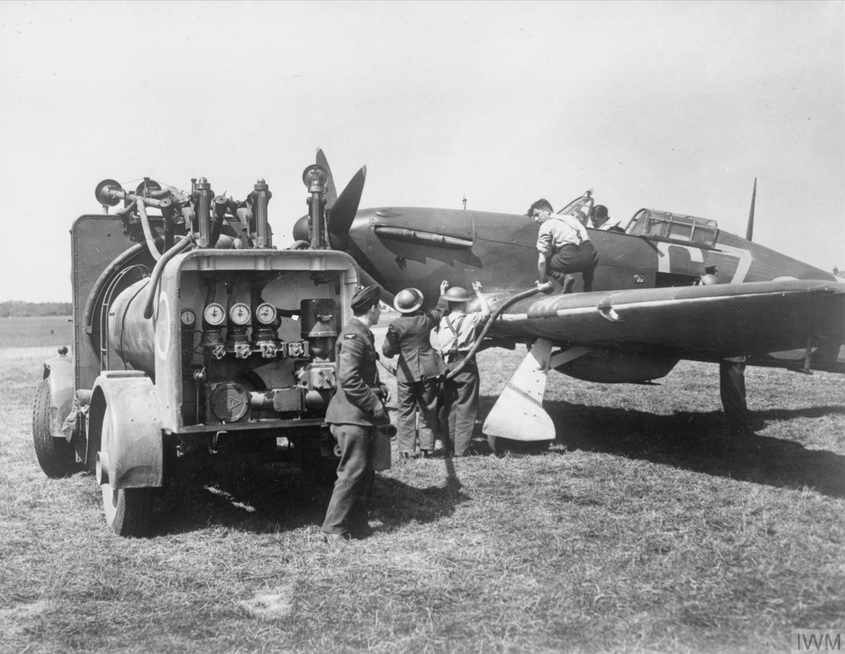 Hurricane I RAF 32Sqn GZL P2921 being refueled Biggin Hill Aug 1940 IWM HU57450